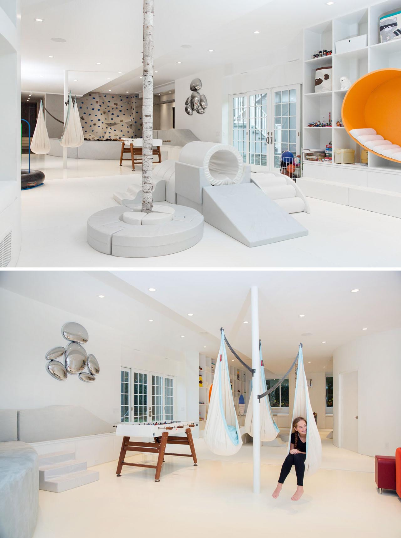 The central area of this modern playroom includes upholstered play equipment with a variety of shapes, allowing the children to build and play freely. A children's hammock tree has been created on a column, and uses steel hammock braces.