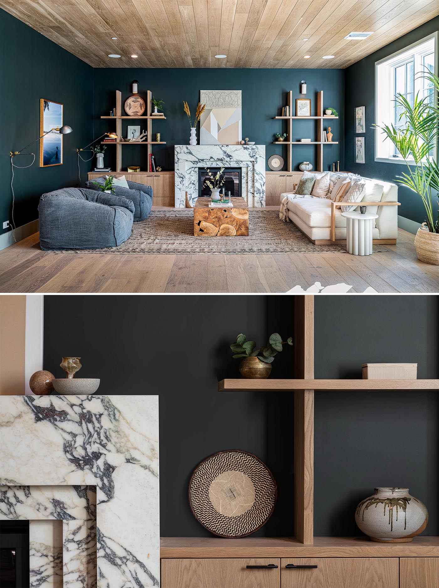This living room has dark walls, wood shelving and cabinetry, and a Rose Corchia calacatta marble fireplace.