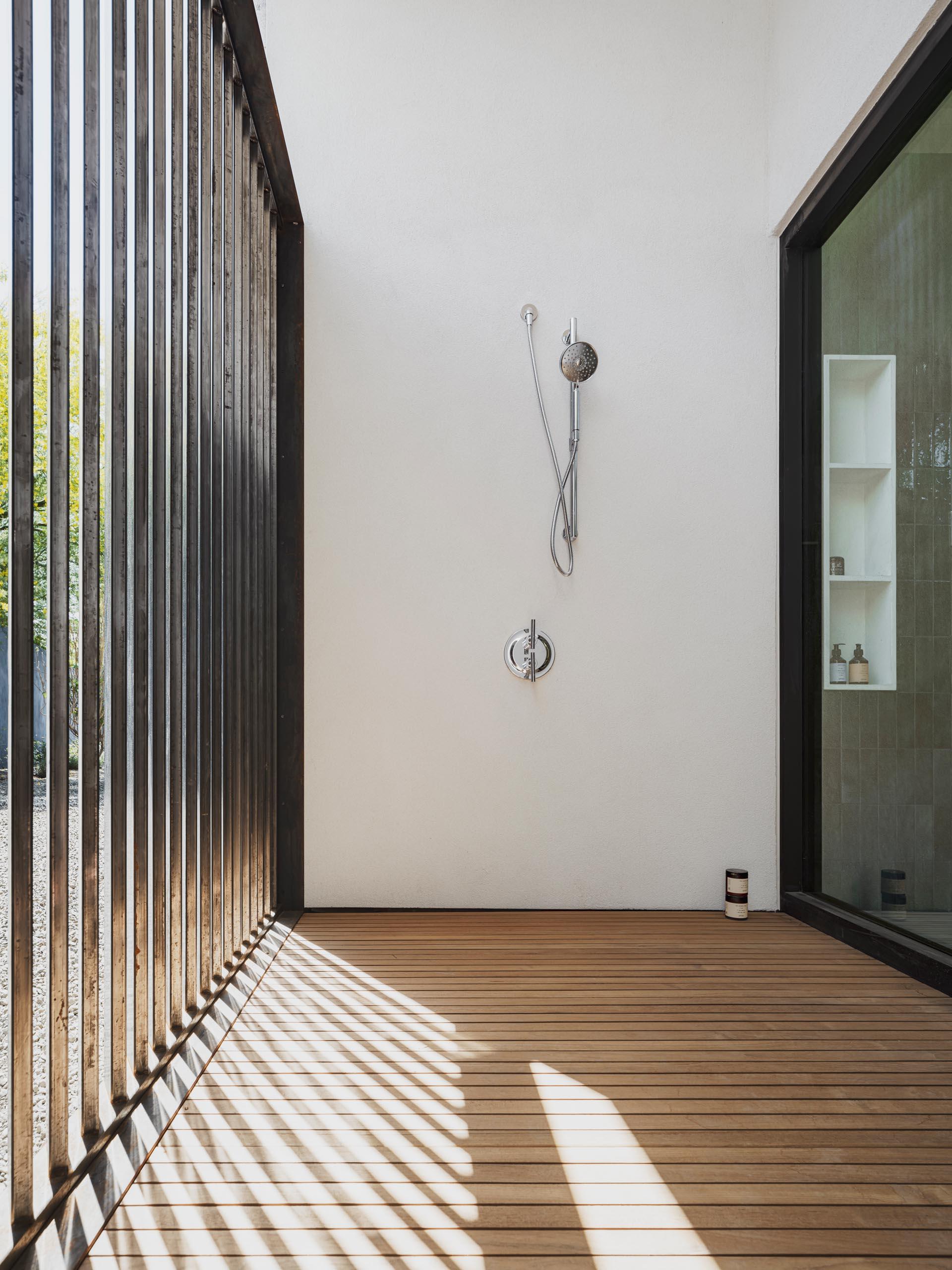 A modern outdoor shower.