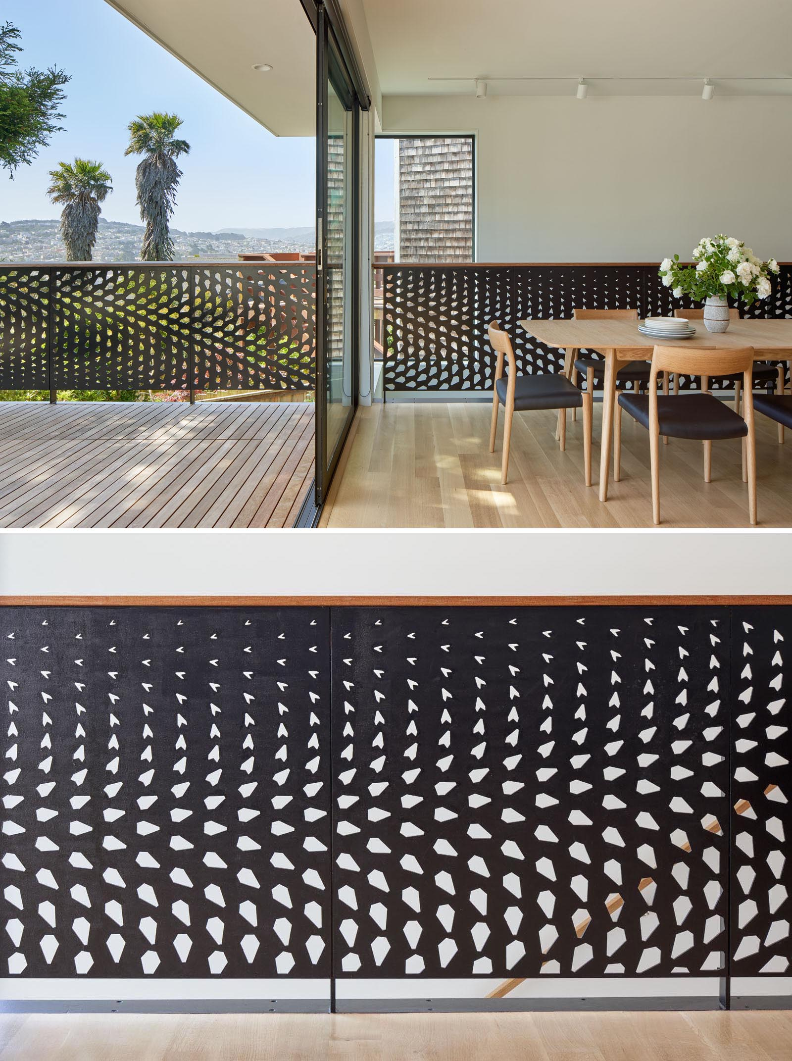 The dining room and living room of this remodeled home both open to a deck with seating and views. The metal guardrail design, which flows from the interior to the exterior is inspired by the huge conifer tree outside.