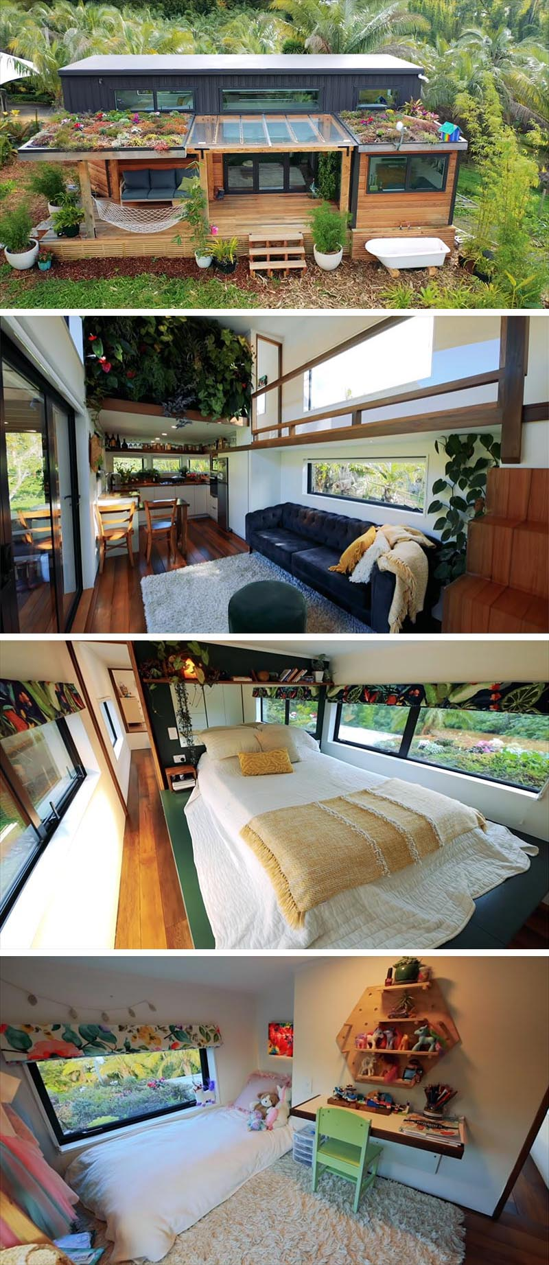 Shaye of Shayes Tiny Homes, along with her team, has designed and built a modern tiny house for herself and her young daughter, that features two lofted bedrooms, an add-on spare room, and an interior green wall.