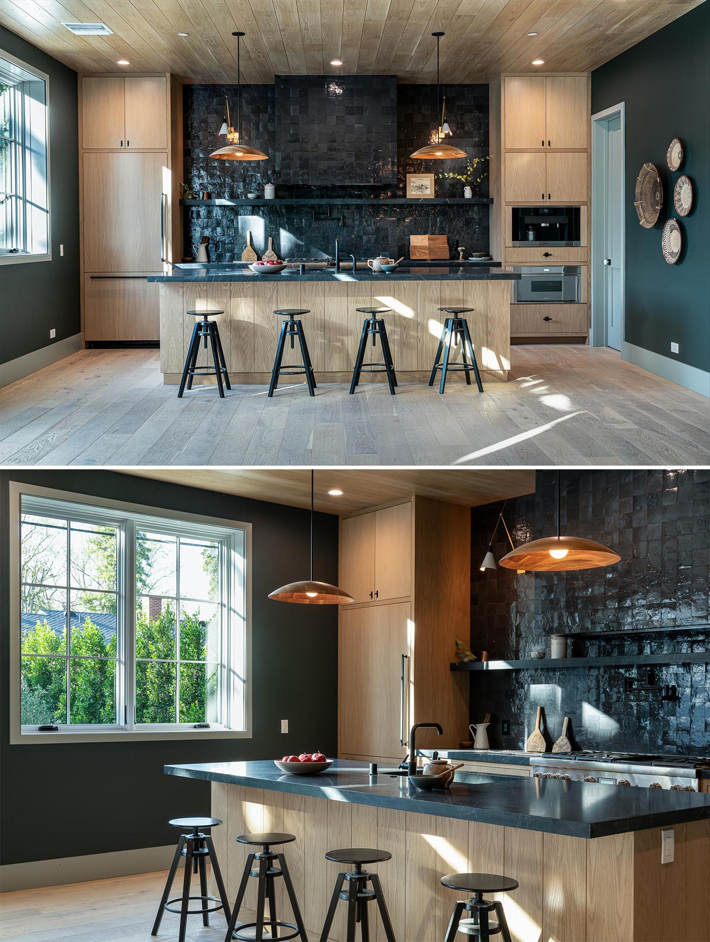 This modern kitchen showcases a Zellige black tile accent wall, rift white oak cabinets, and dark honed soapstone countertops.