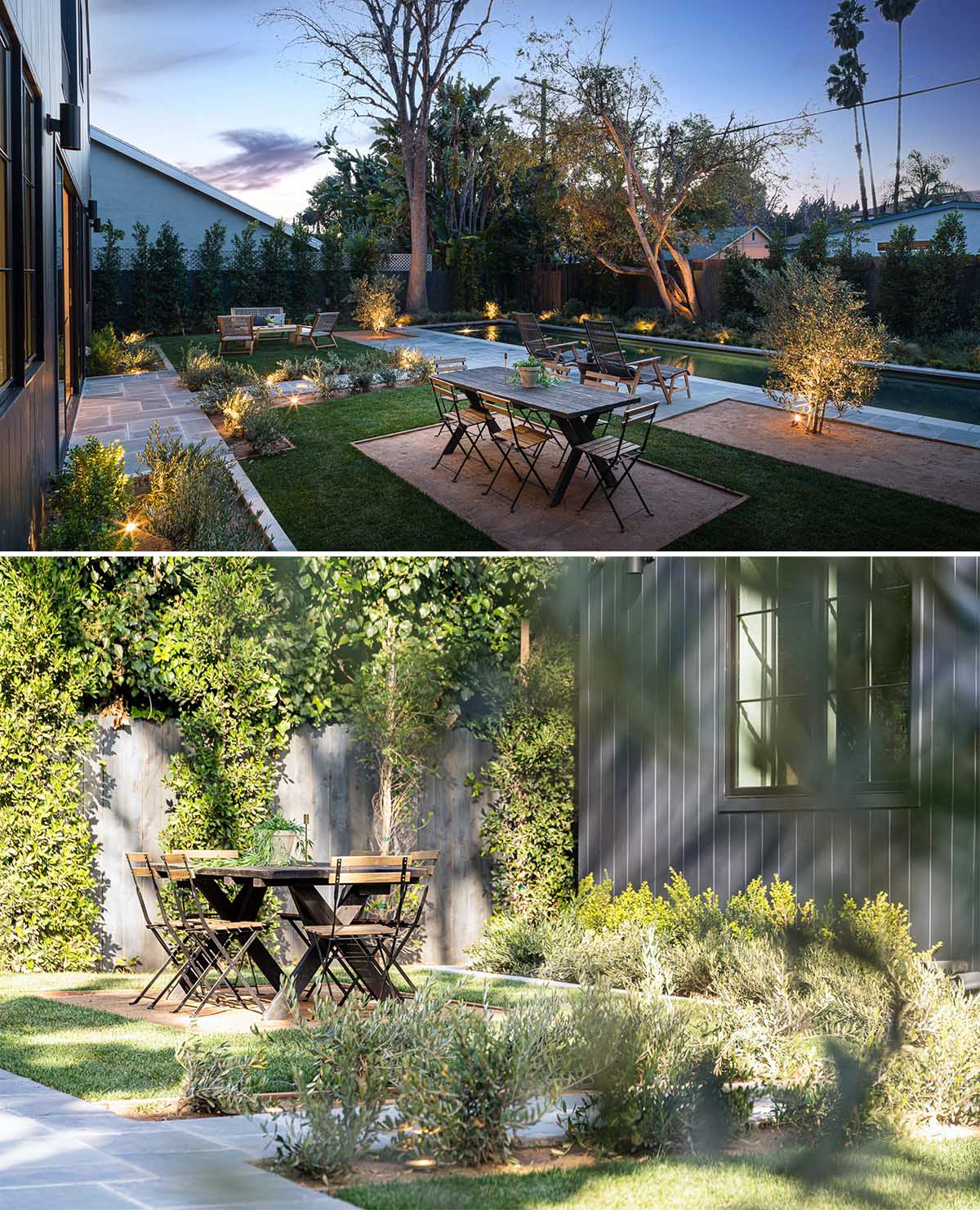 The outdoor space of this double A-frame house has been designed for entertaining, with an expansive patio for alfresco dining, and over 500 plants that add a lush texture and privacy to the yard.