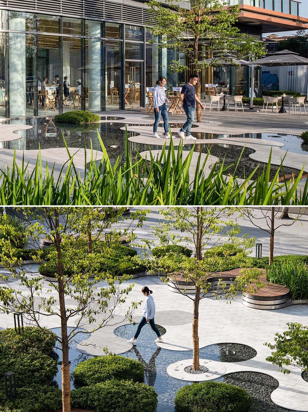 A landscaped park that includes curving water features that surround pathways.