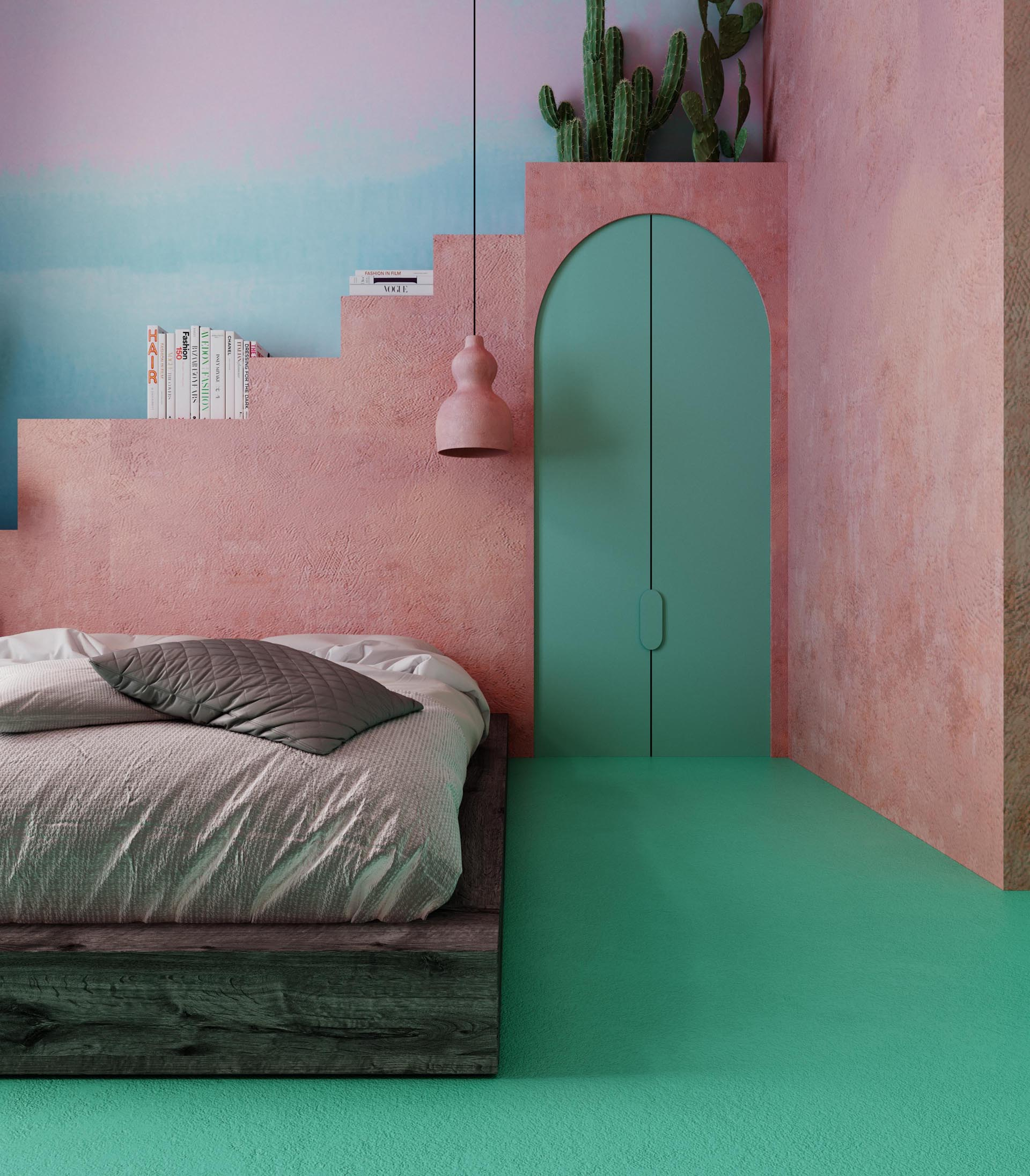 In this bedroom, the bed frame is made from old timber, the pendant lamp is made from pink clay, while a small closet is located behind the green doors. Behind the bed is a shelving unit that resembles steps, and was constructed using building blocks covered with plaster, imitating the plaster which can be found in Mexico.