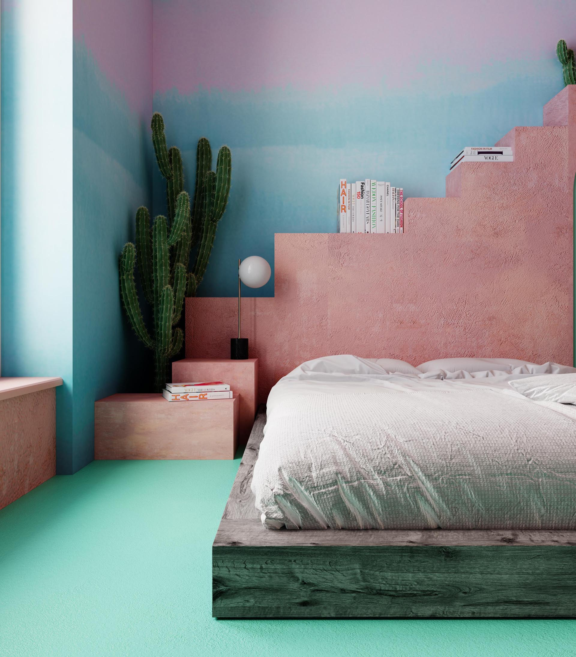 In this bedroom, the bed frame is made from old timber, while a shelving unit that resembles steps, was constructed using building blocks covered with plaster, imitating the plaster which can be found in Mexico.