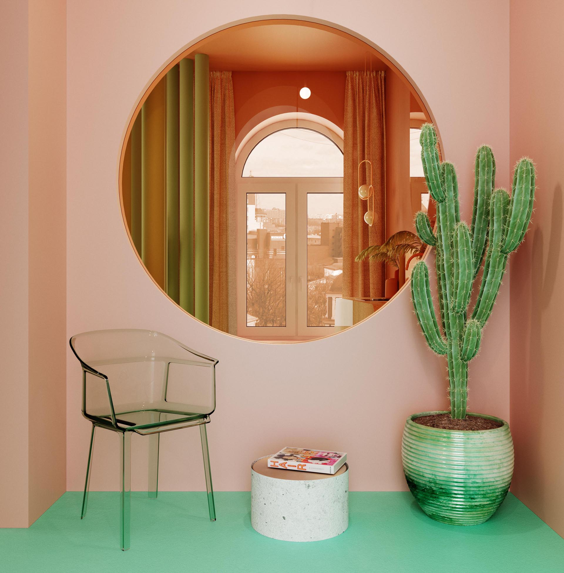 This modern entryway includes pink walls, a transparent armchair with a green tinge, a large round window with views of the kitchen through orange tinted plastic, and a potted cactus.