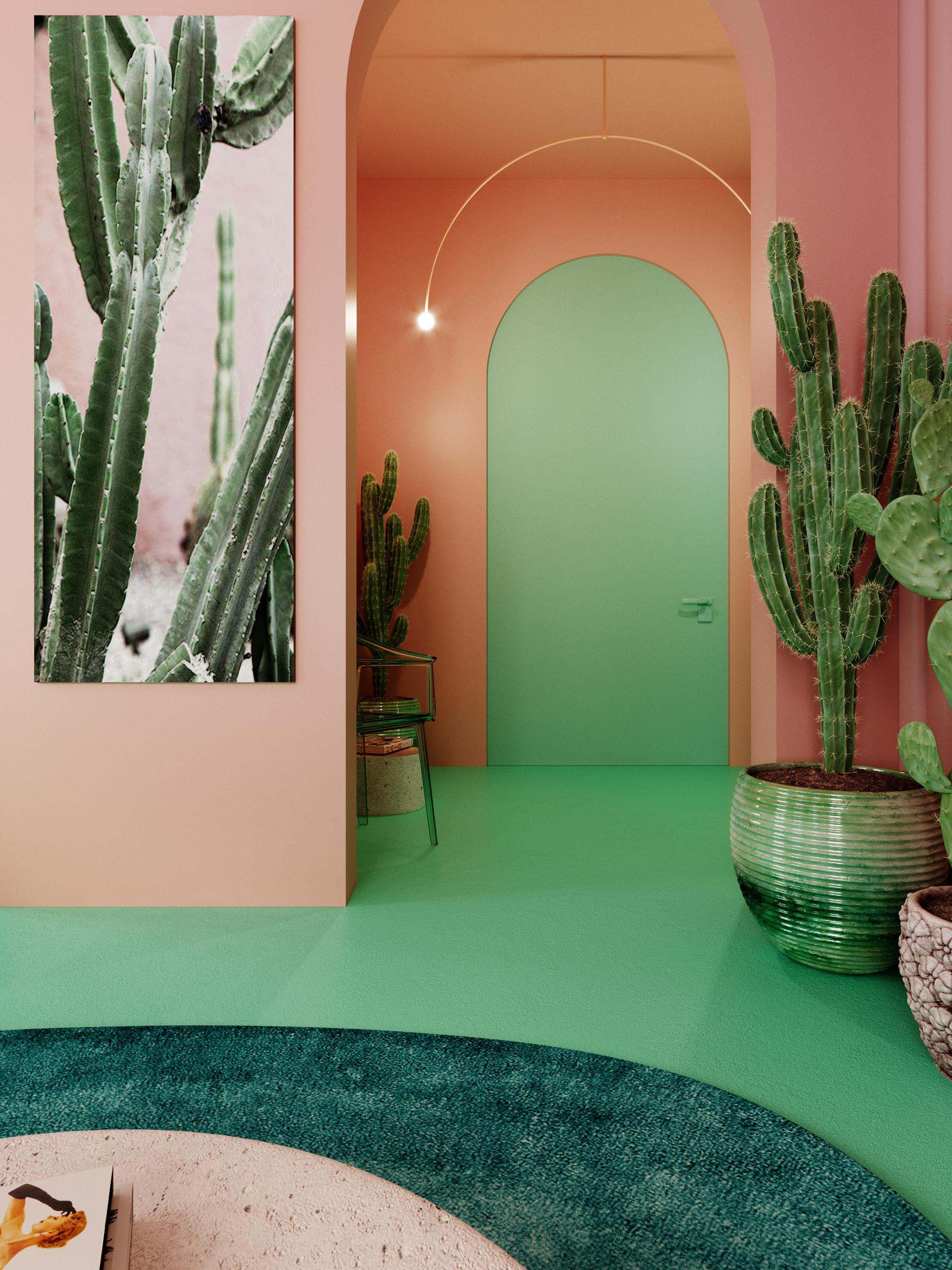 A green door welcomes visitors to this apartment, and one inside, the color palette is immediately visible, with pink walls and a concrete floor with a bright mint green finish.