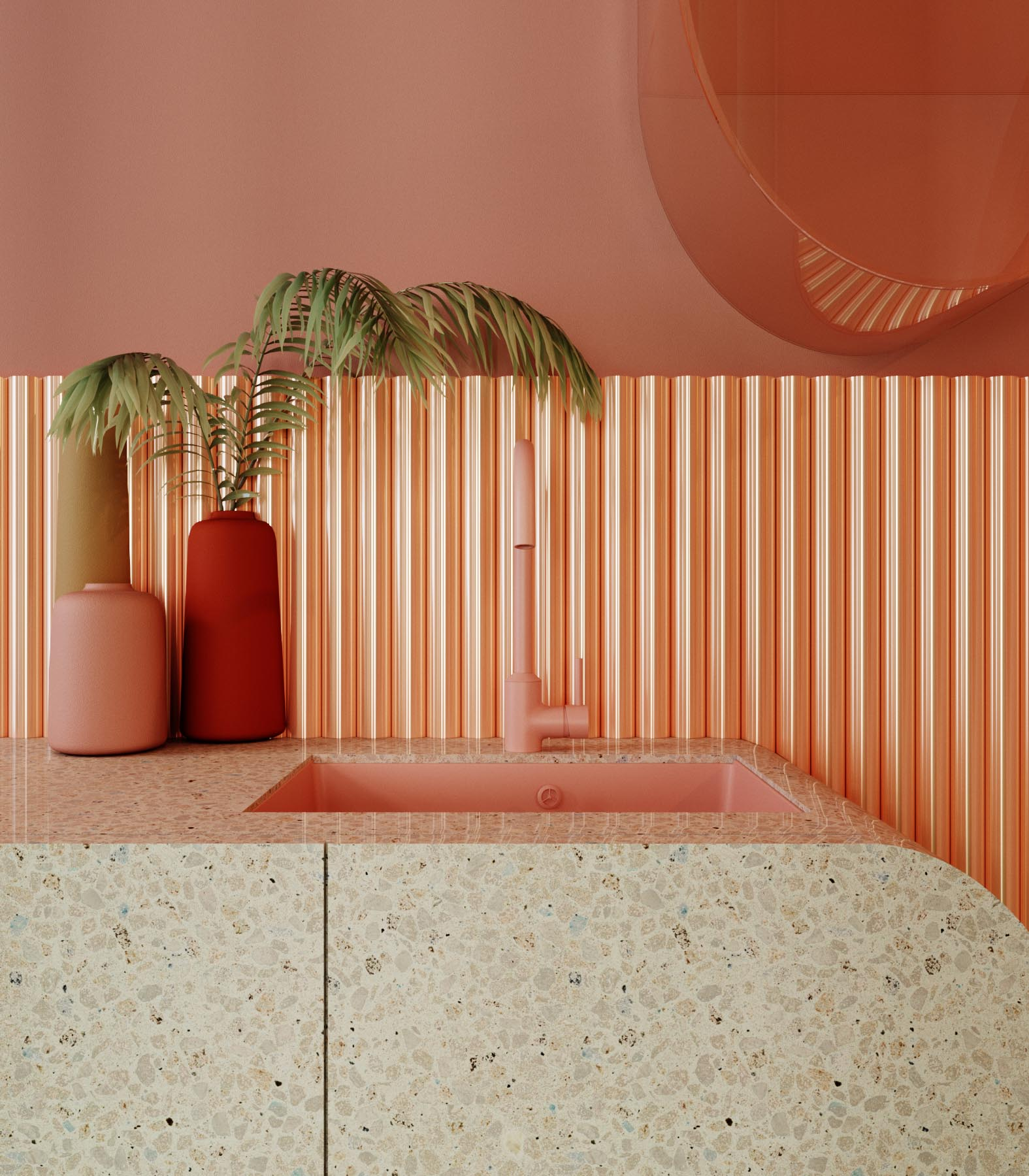 This pink and green kitchen includes materials such as terrazzo and plastic, and has floating cabinets. The metal backsplash, which is coated with copper, protects the wall and acts as a decorative function.