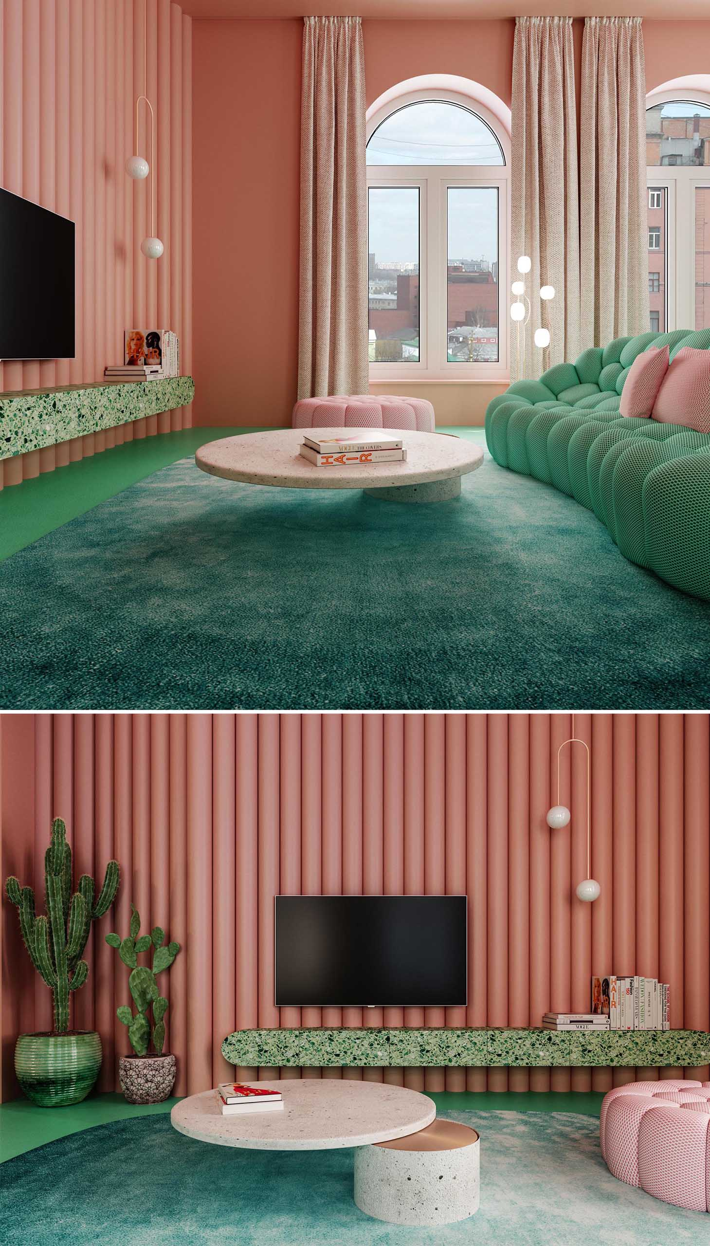 This colorful living room is defined in the open plan interior by the large dark green rug. The accent wall behind the TV adds texture to the space and is made from painted polyurethane cylinders. A custom coffee table designed by Dmitry Reutov, is made from concrete and copper.