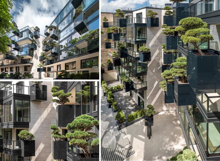 Planters Filled With Bonsai Trees Cover The Exterior Of This Building
