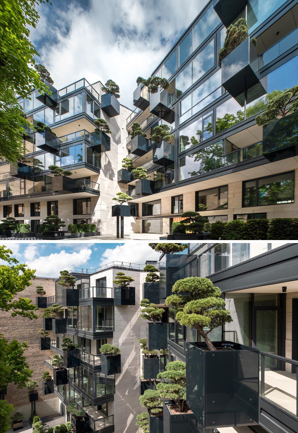 As part of the design of the new exterior of this apartment building, 'flying' conifers and bonsai trees were placed in cantilevered planters.