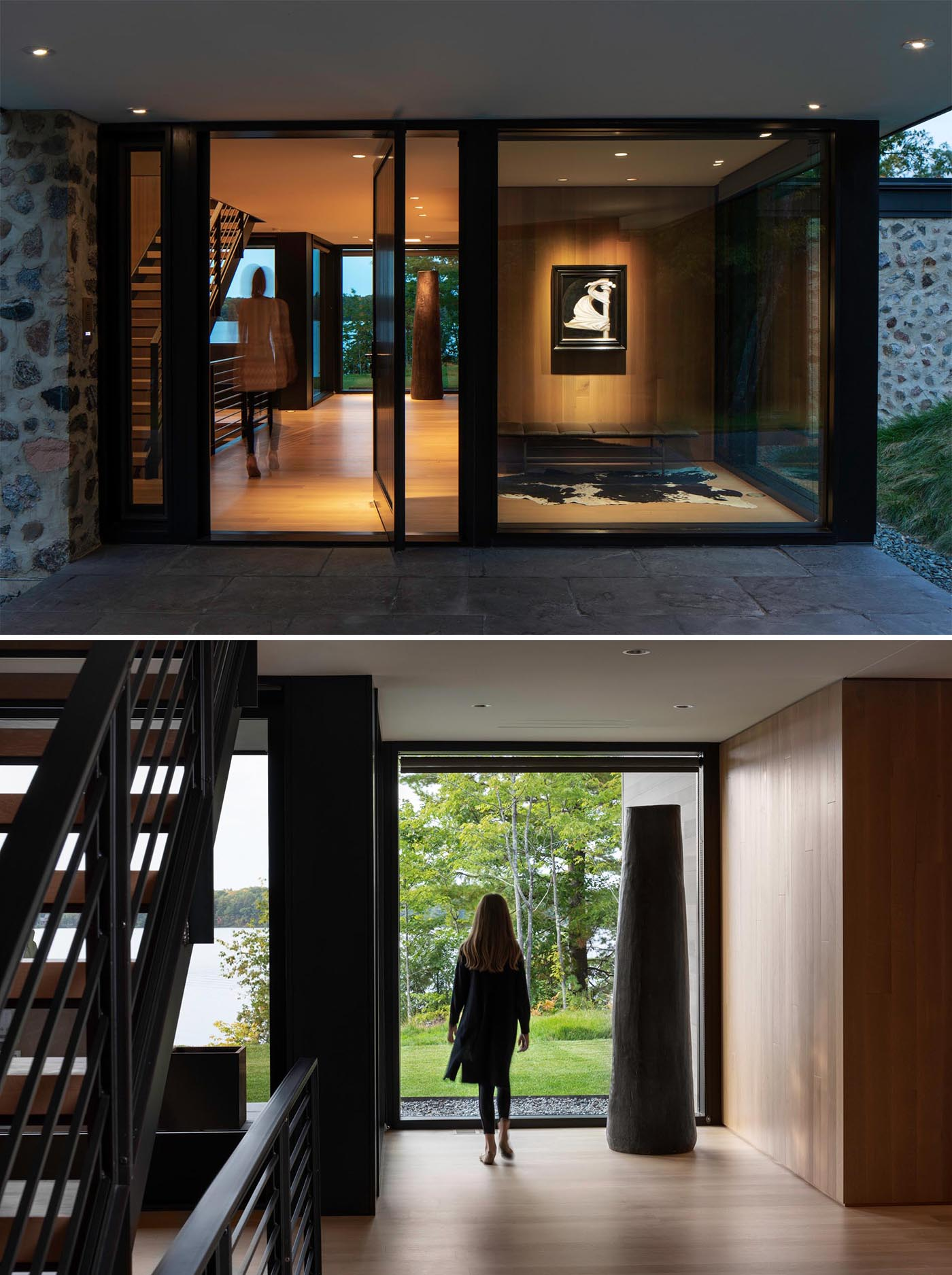 A covered entryway off the driveway leads to the custom designed pivoting wood front door and foyer.