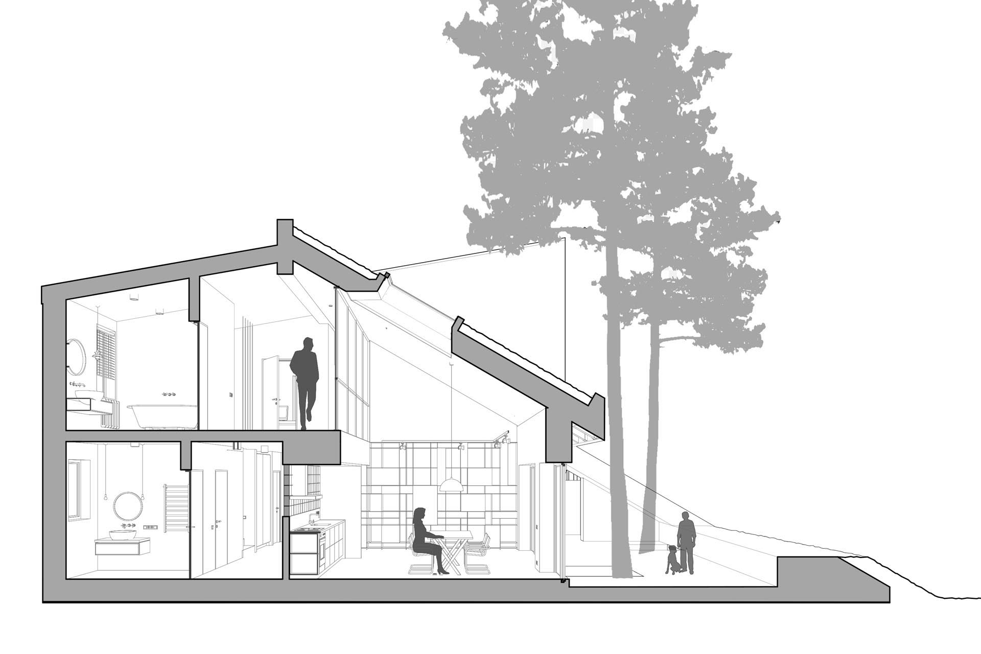 The section of a modern house with a sloped green roof.