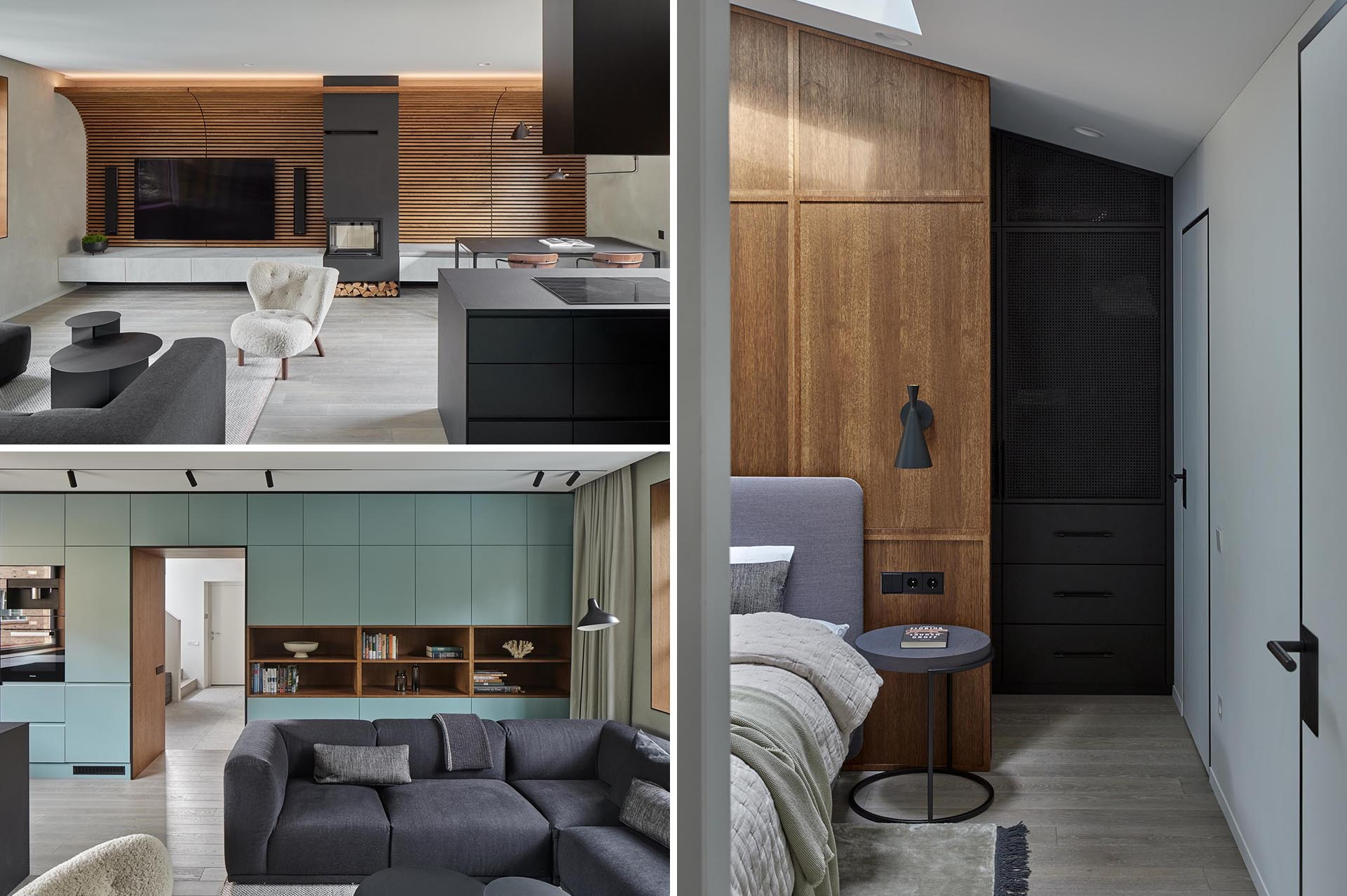 A modern home interior with a curved wood slat wall, black accents, and minimalist cabinets.
