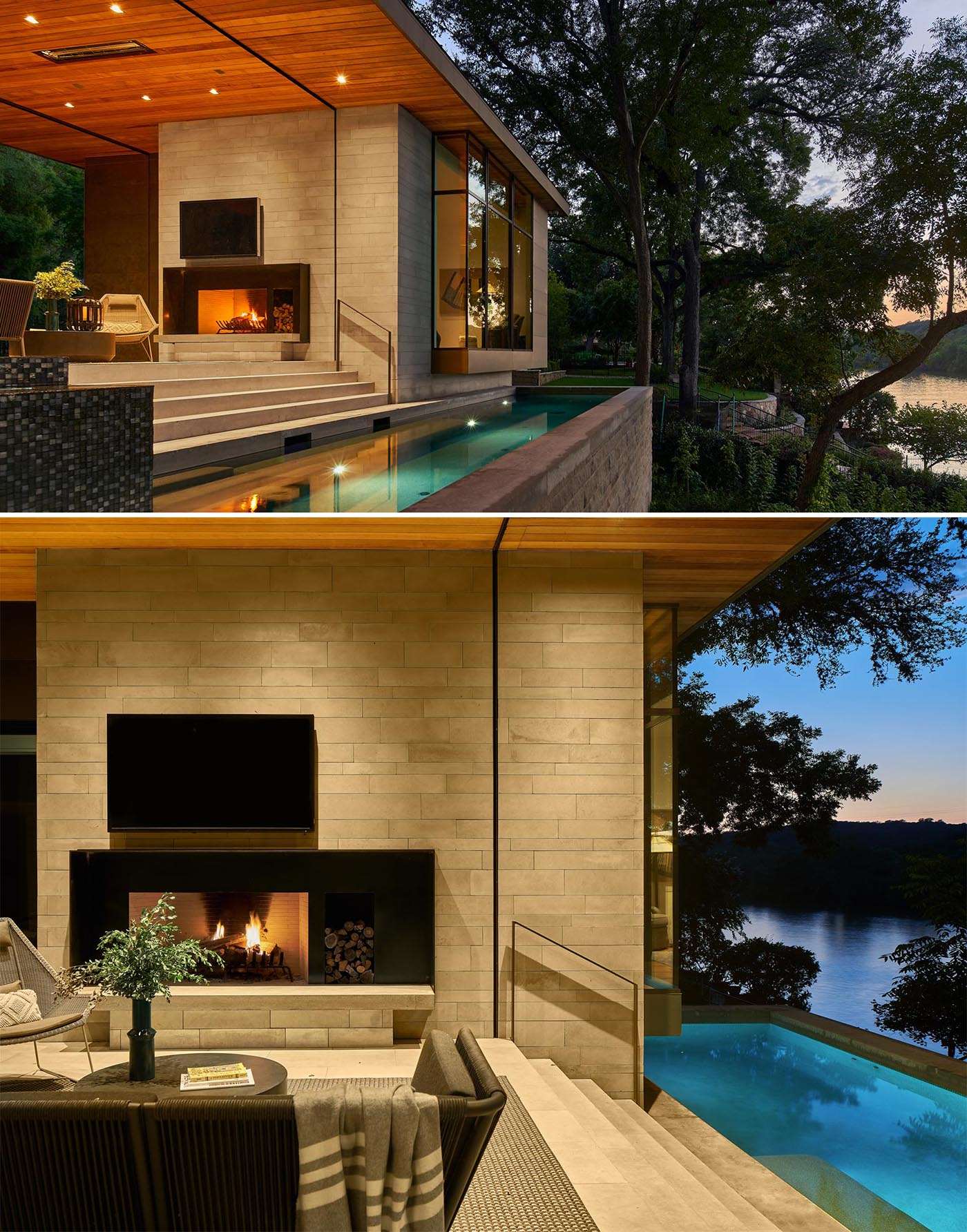 This modern home includes a covered outdoor entertaining space with a lounge, dining area, and a fireplace. Steps lead down to a swimming pool with views of the lake.