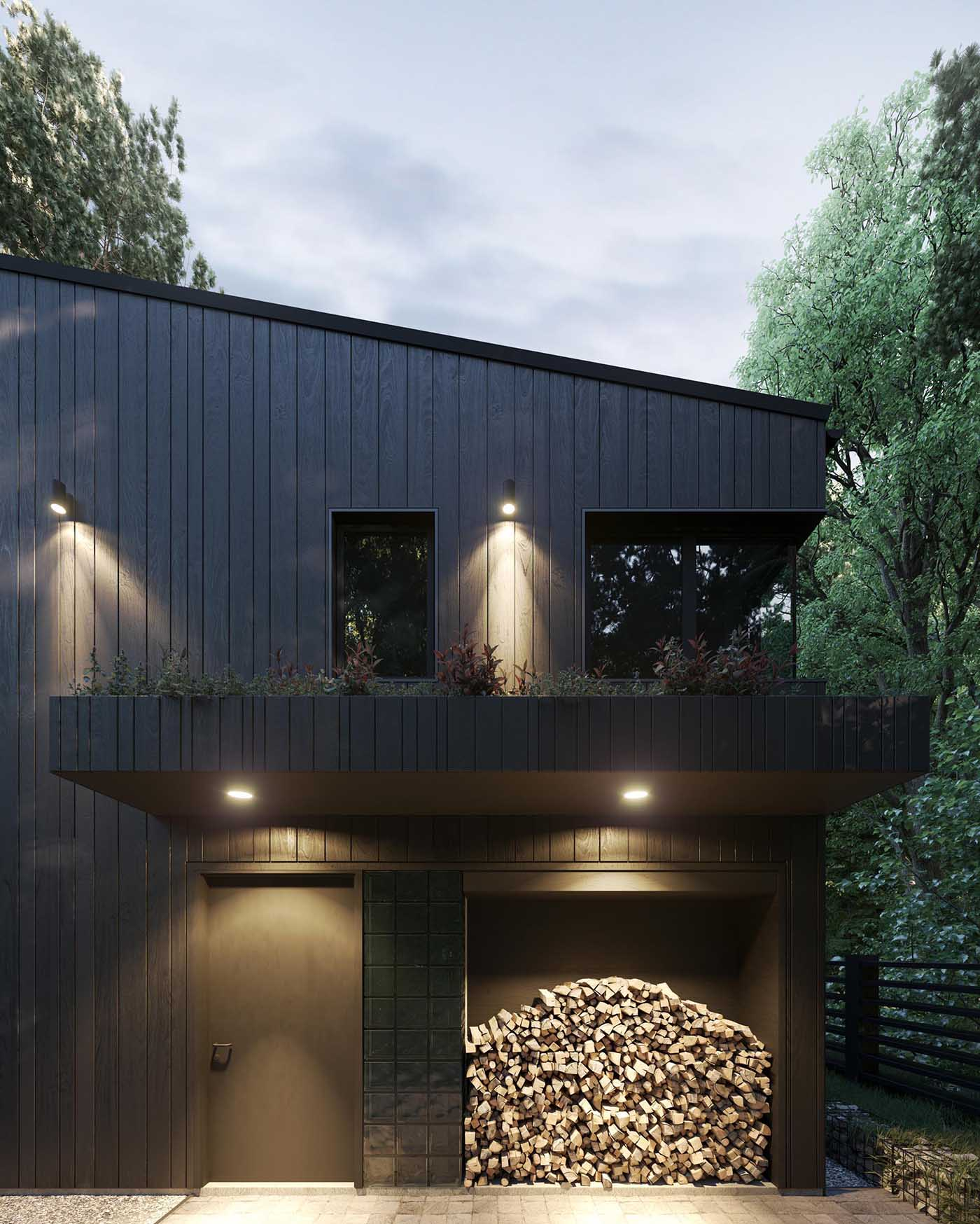 A modern house with dark wood siding, black window frames, firewood storage, and a green roof.