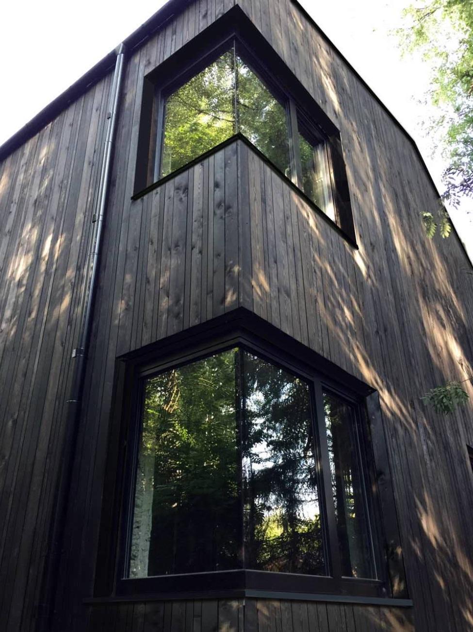 A modern house with dark wood siding and black window frames.