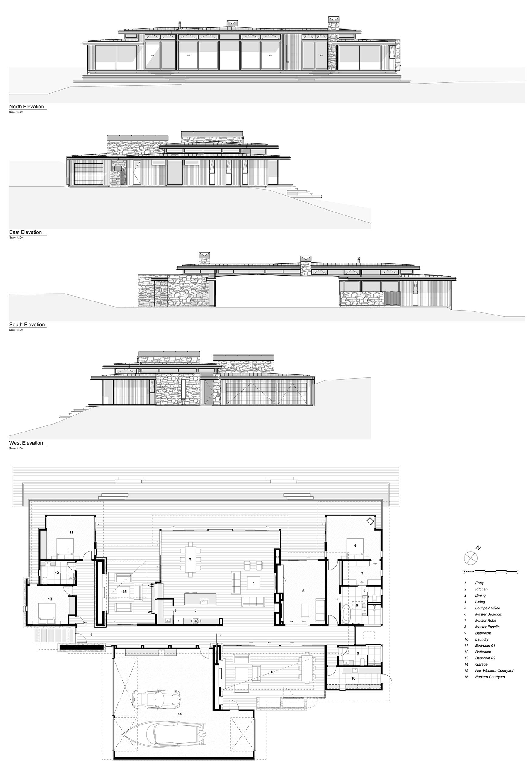 The elevations and floor plan of a modern single storey home.