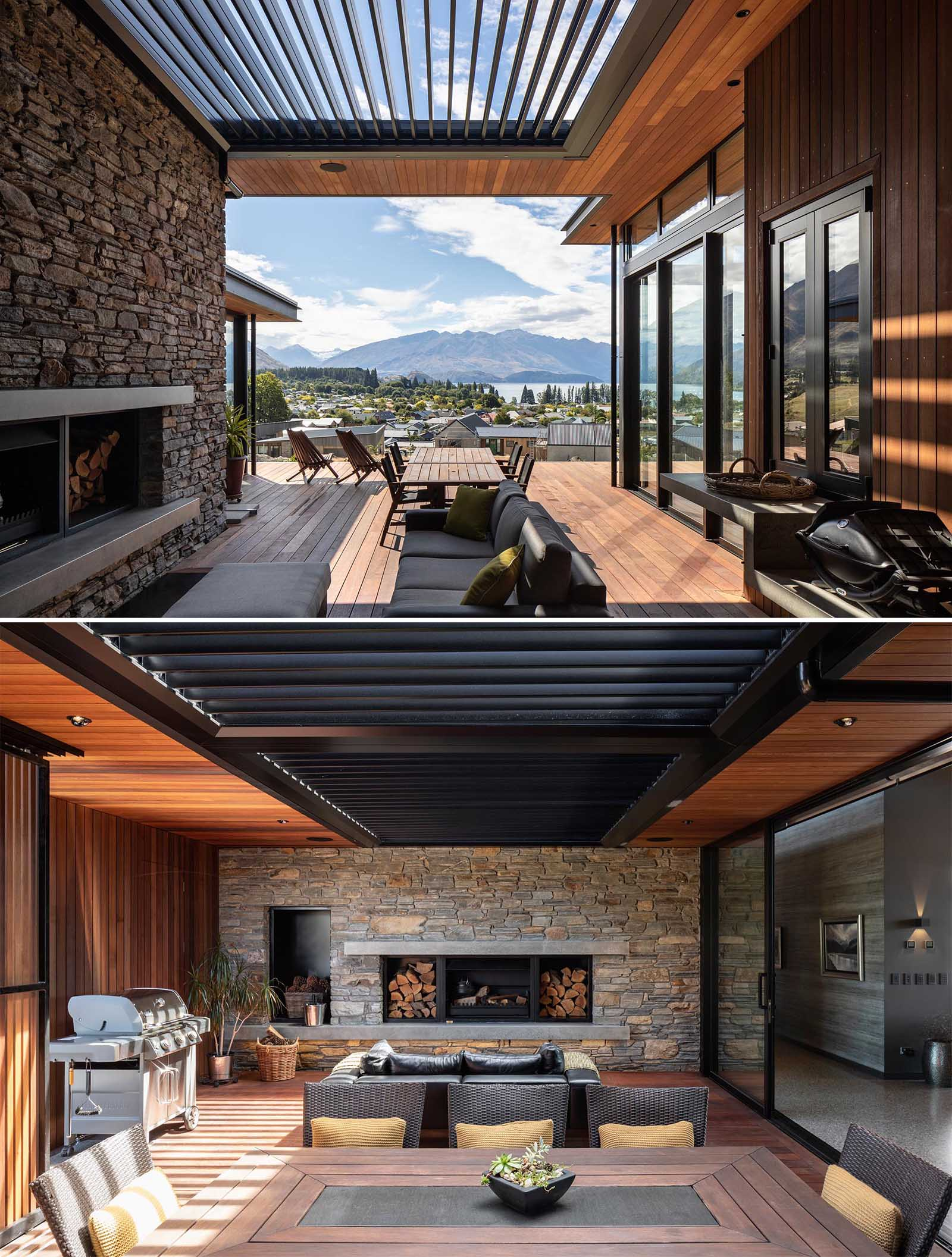A modern courtyard with a louvre roof, a fireplace, BBQ, lounge, and dining area.