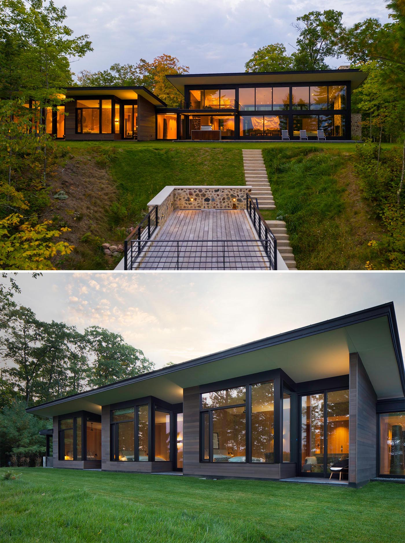 The lakefront side of the home has large windows that span the entire exterior, filling the interior with natural light, and allowing the views of the lake and the boathouse below to be enjoyed.