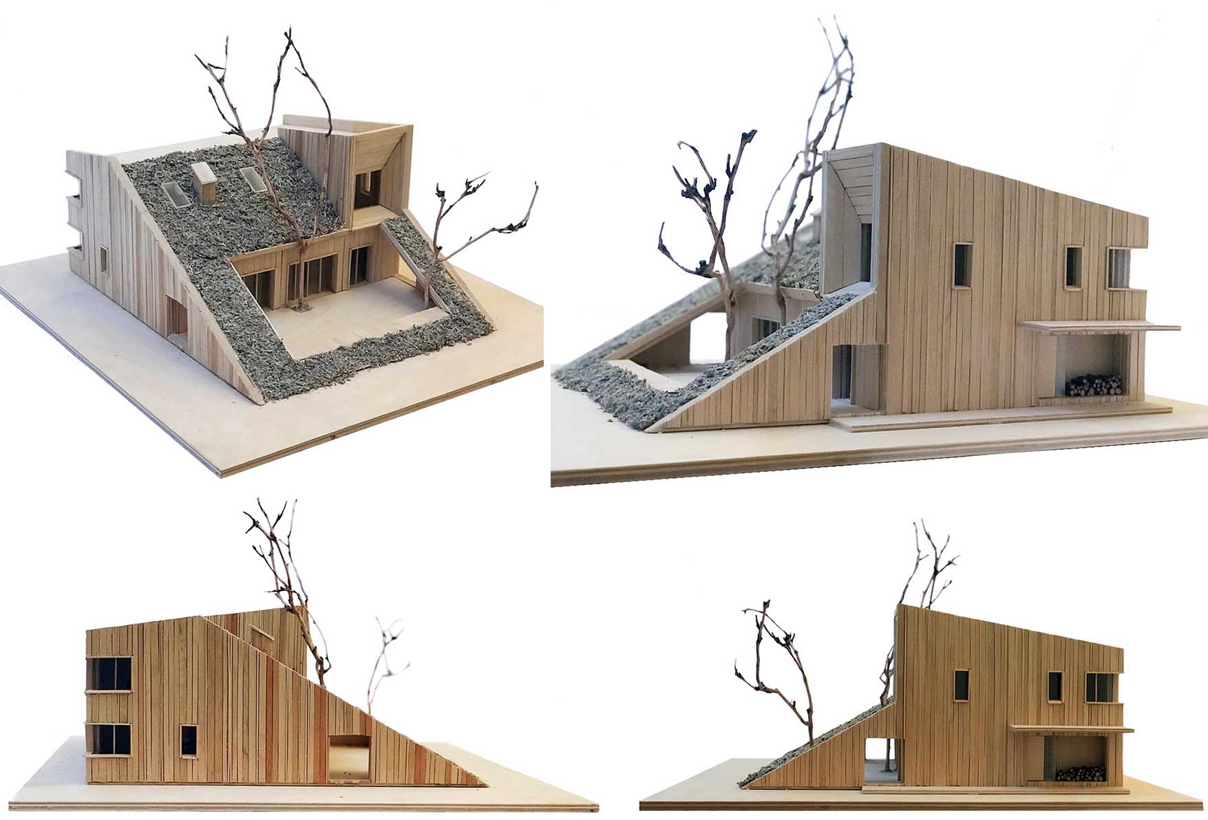 The model of a modern house with a sloped green roof.