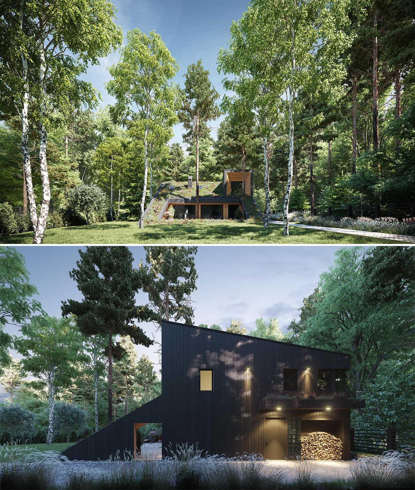 A modern house with a sloped green roof, and light and dark wood siding.