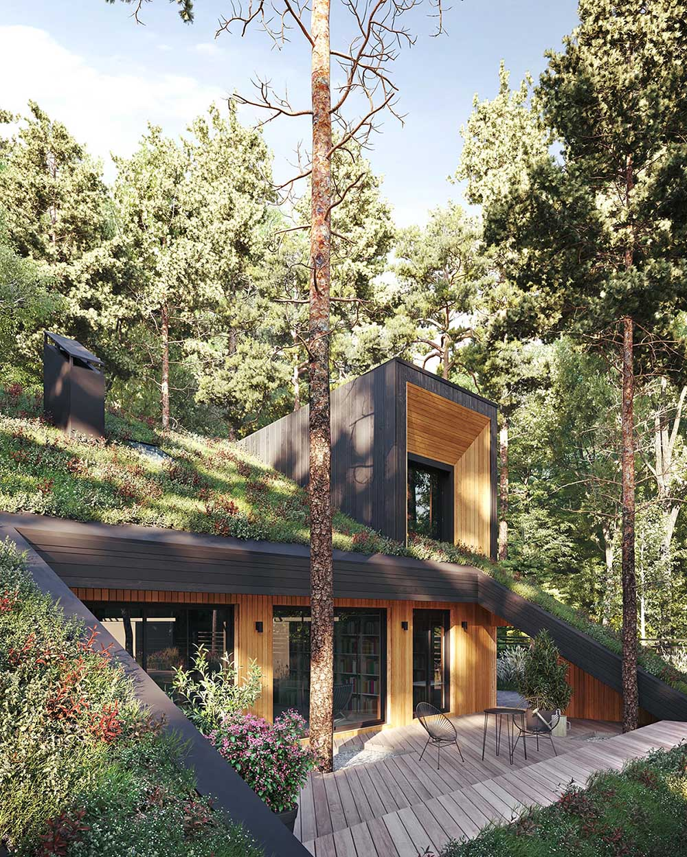 A modern house with a sloped green roof.