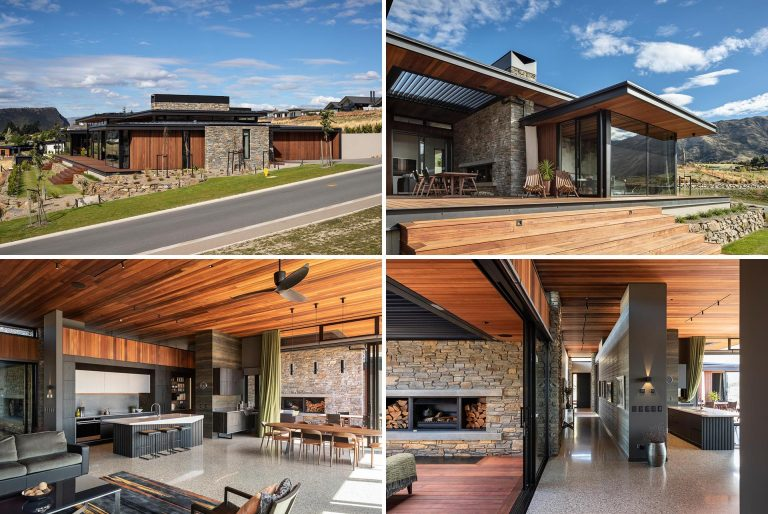 The Combination Of Stone And Wood Gives This Home A Rustic Modern Look