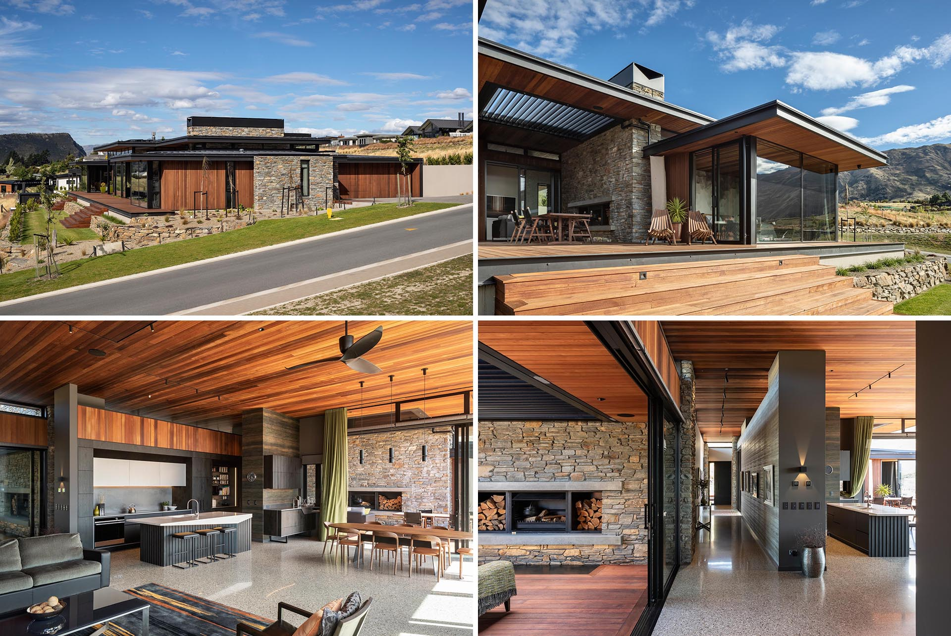 A modern home that includes low-slung roofs and deep eaves, and materials like stone, wood, and metal.