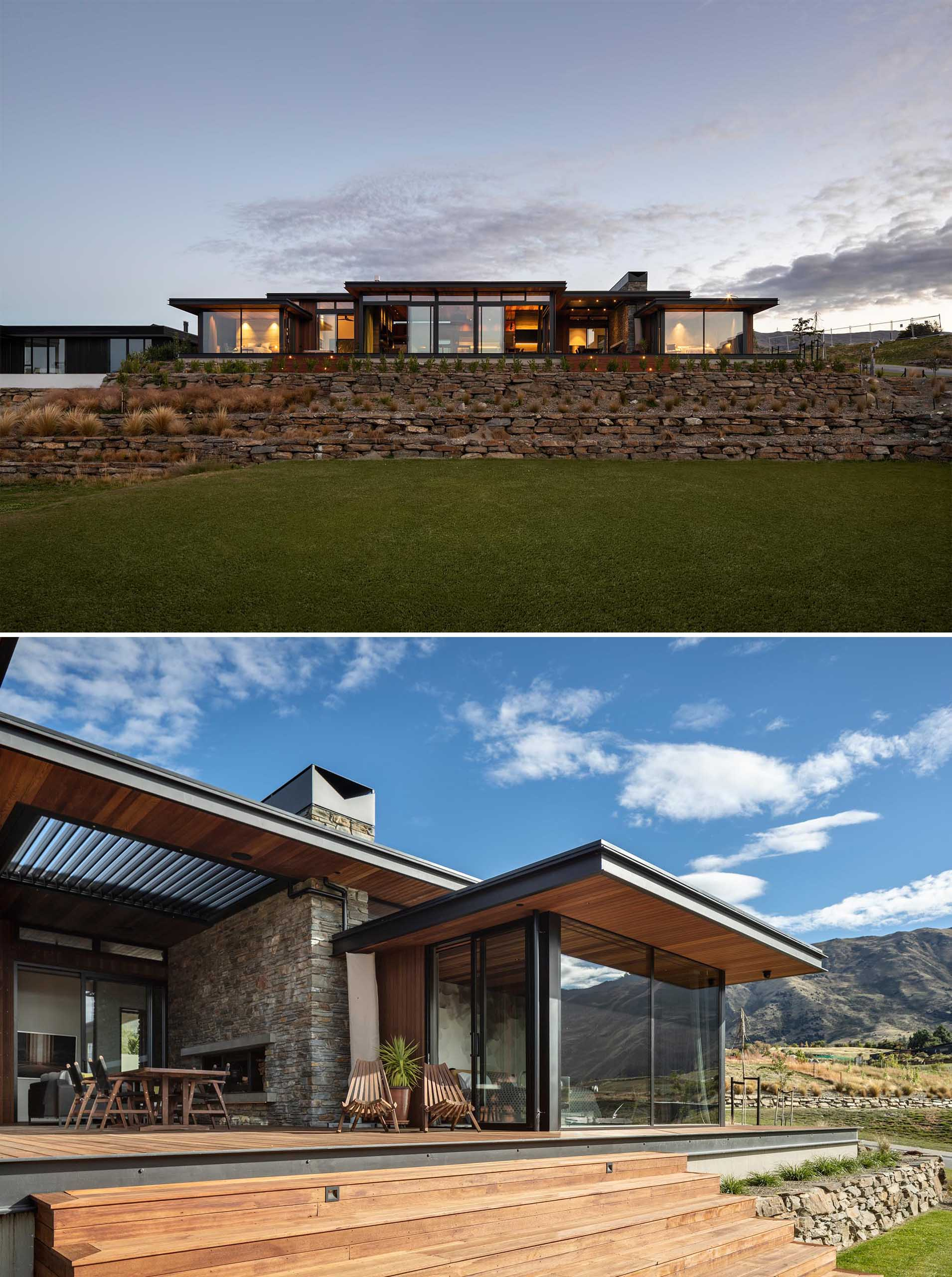 Using a palette of schist, metals and cedar, with exposed structural steel fascias to add a touch of grit, this modern house appears in keeping with the alpine and rural landscapes of the area.