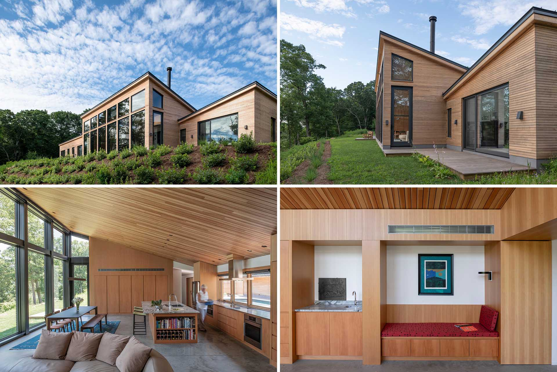 The architects built this modern home with an aesthetic focused natural materials that need no finishing or maintenance. They selected only rot-resistant wood that can be used naturally with no applied stain or seal.