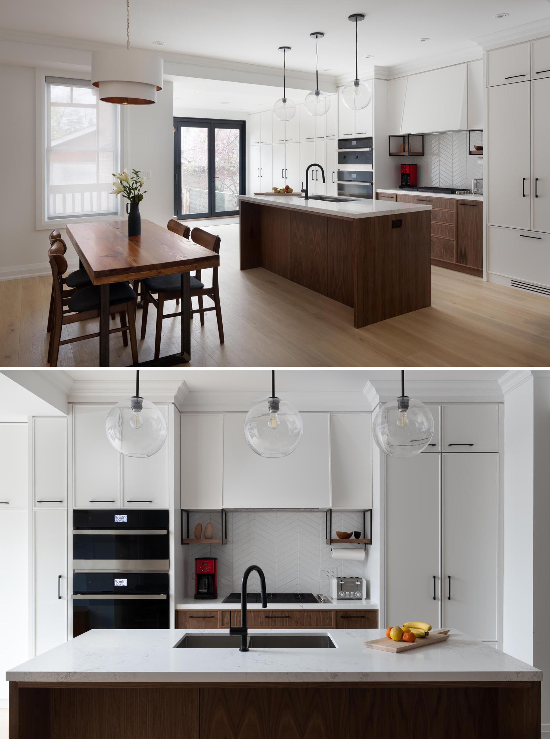 This modern kitchen includes built-in appliances, like a concealed fridge and dishwasher, as well as plenty of storage for baking items, a pantry, garbage and recycling, and cleaning supplies.