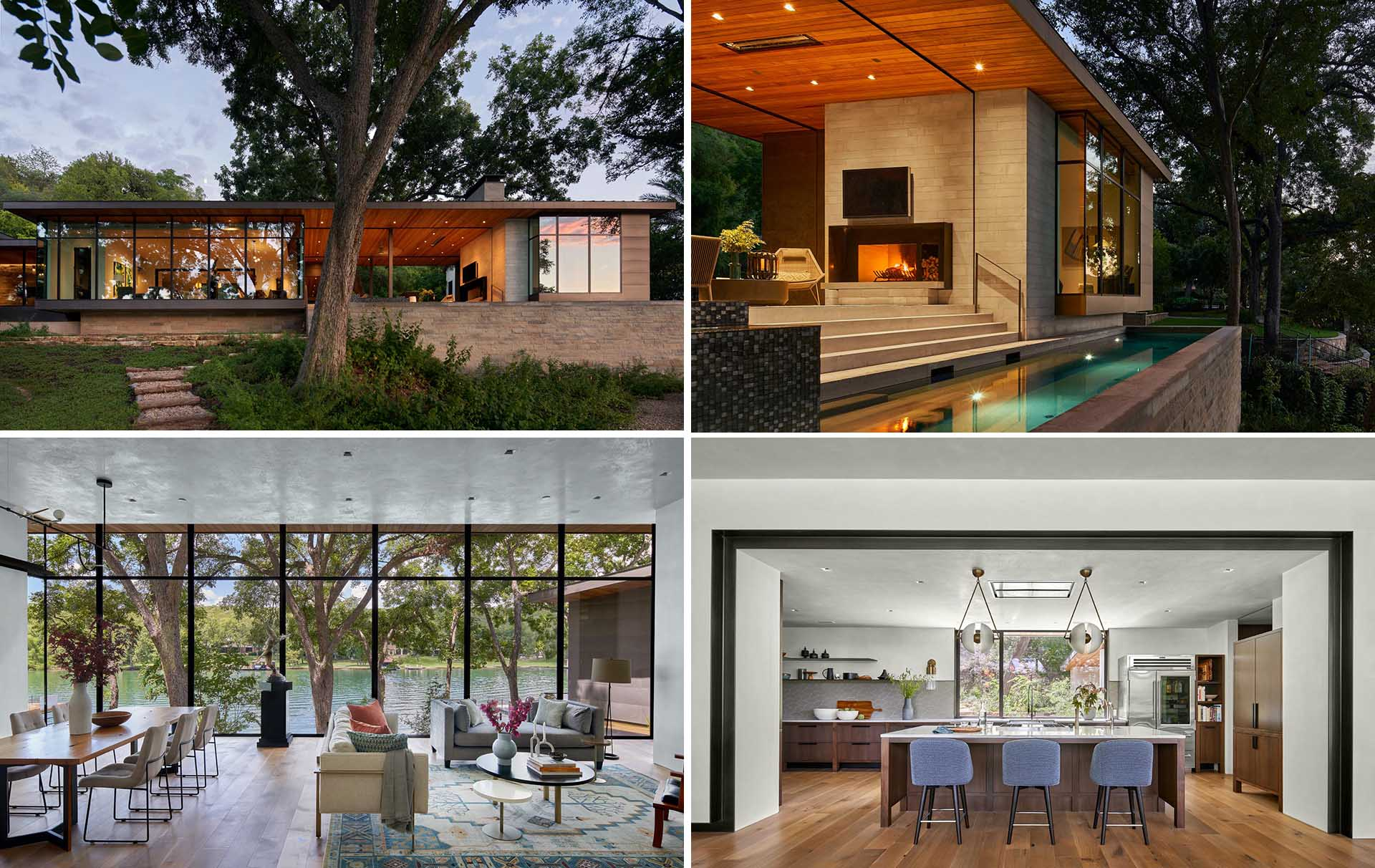 A modern lakeside house with walls of windows and a covered outdoor entertaining space.
