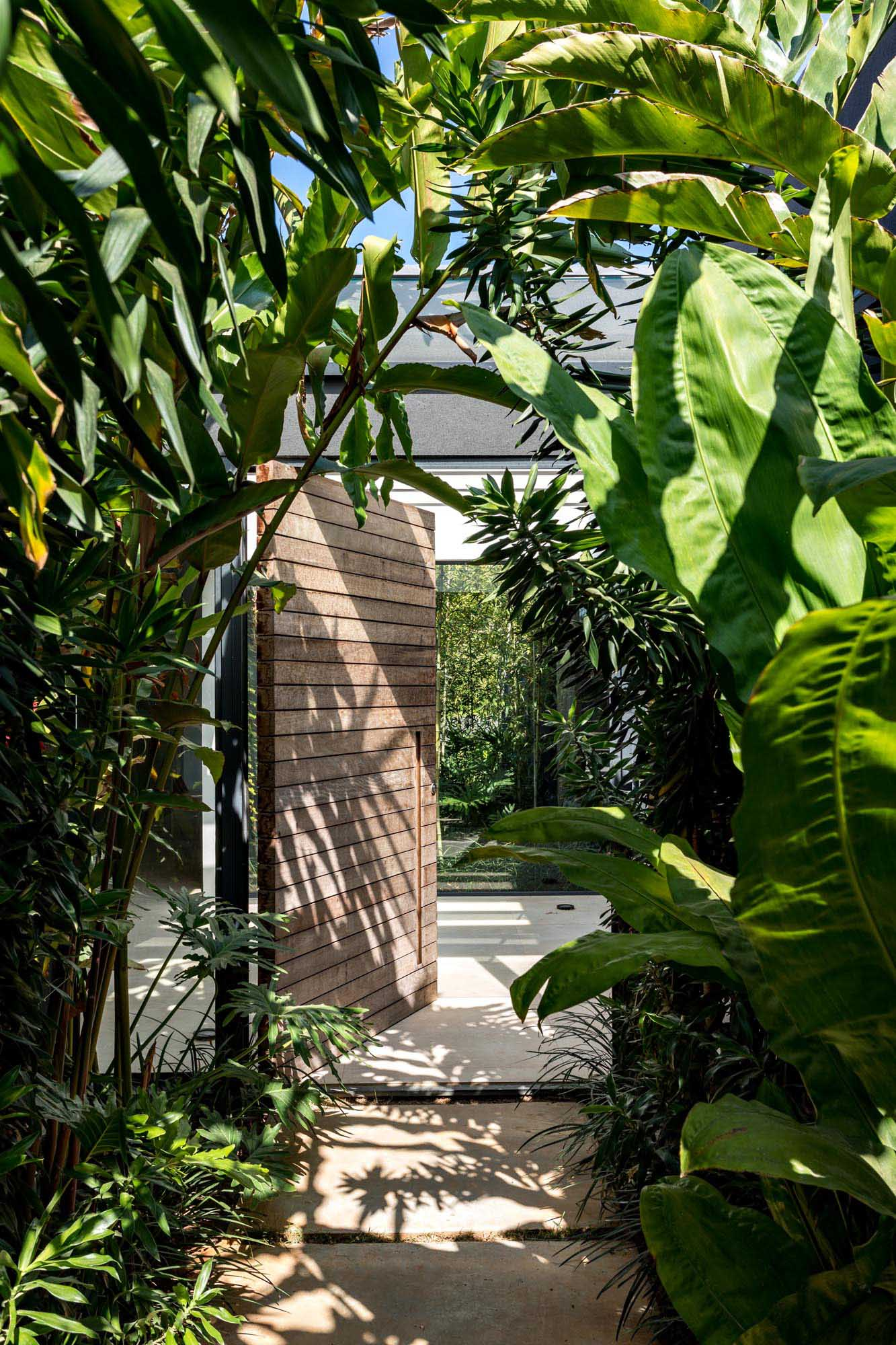 Tropical plants line a pathway that leads to the entryway of the home, where you'll find a pivoting front door with views of a garden through glass walls.