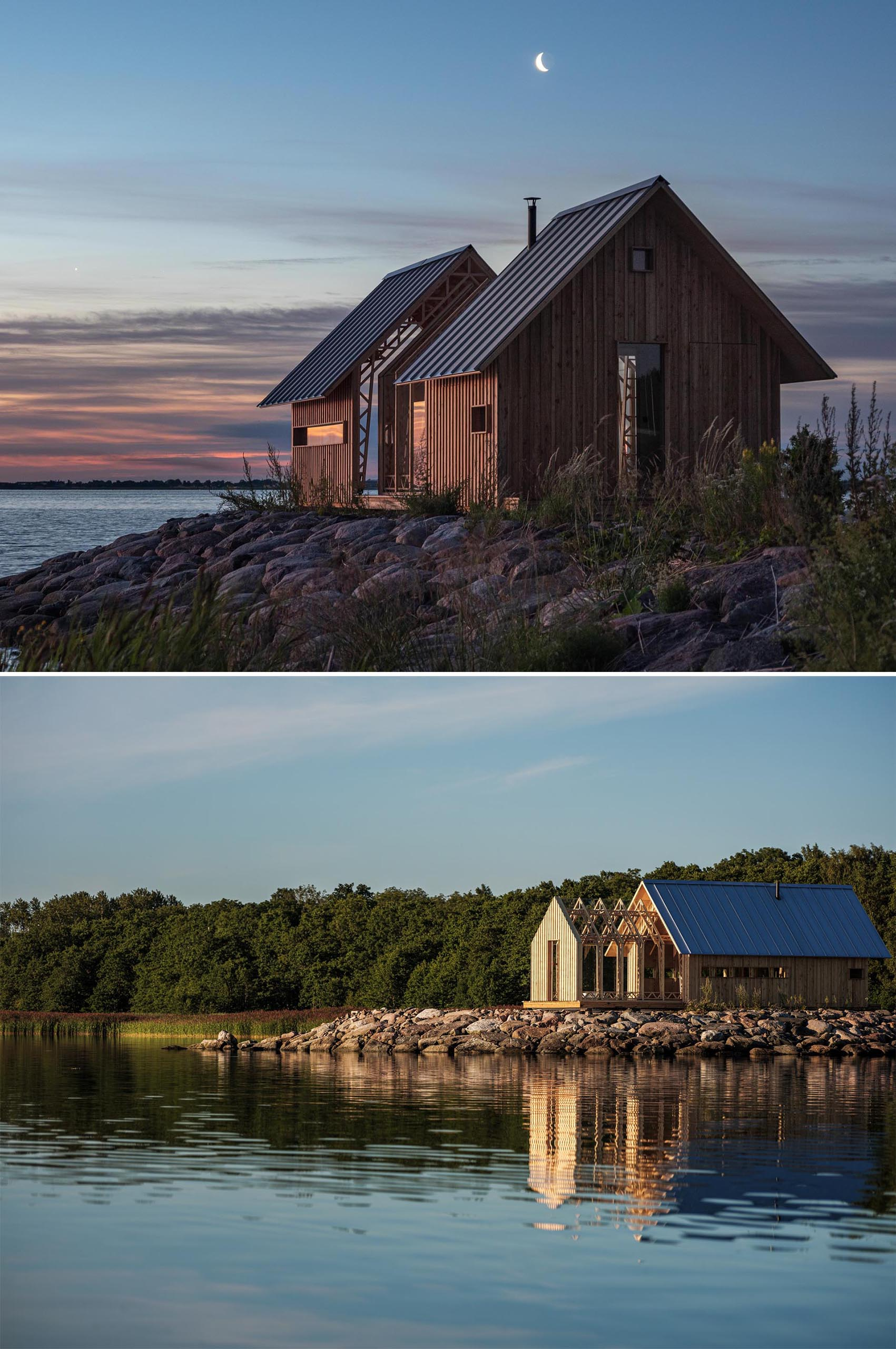 A versatile small and modern wood cabin with two different 'shells' as outer walls, which are supported on rails, allowing the interior to be open to the outdoors.