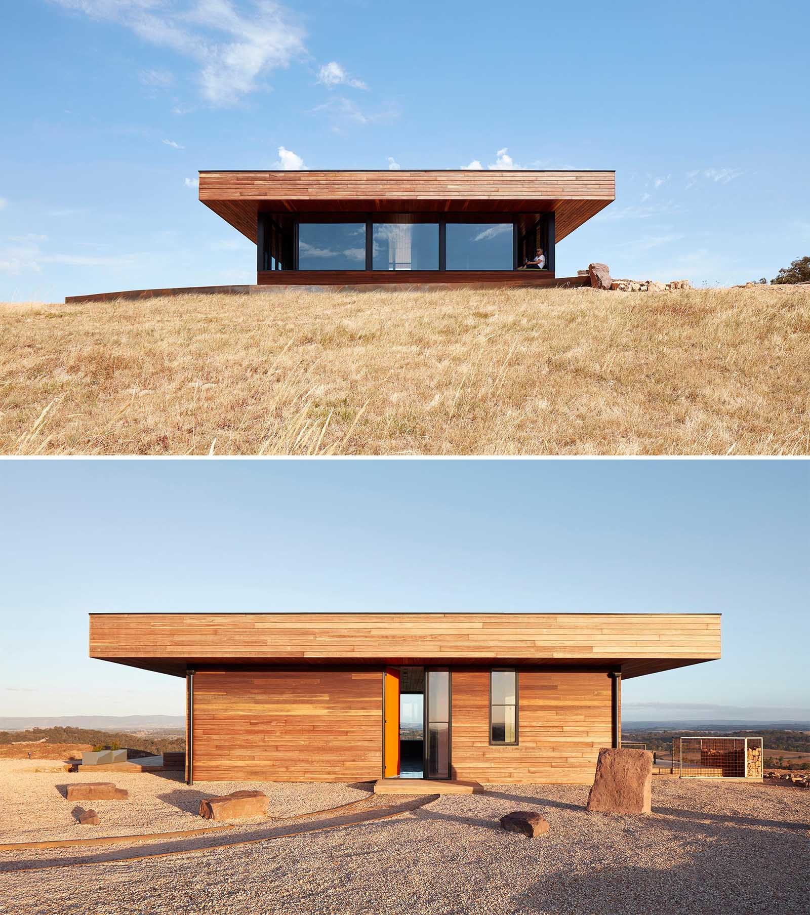The entire exterior of this small home is clad in Spotted Gum timber, an Australian native hardwood that's so durable that it meets the bushfire rating non-combustibility requirements.