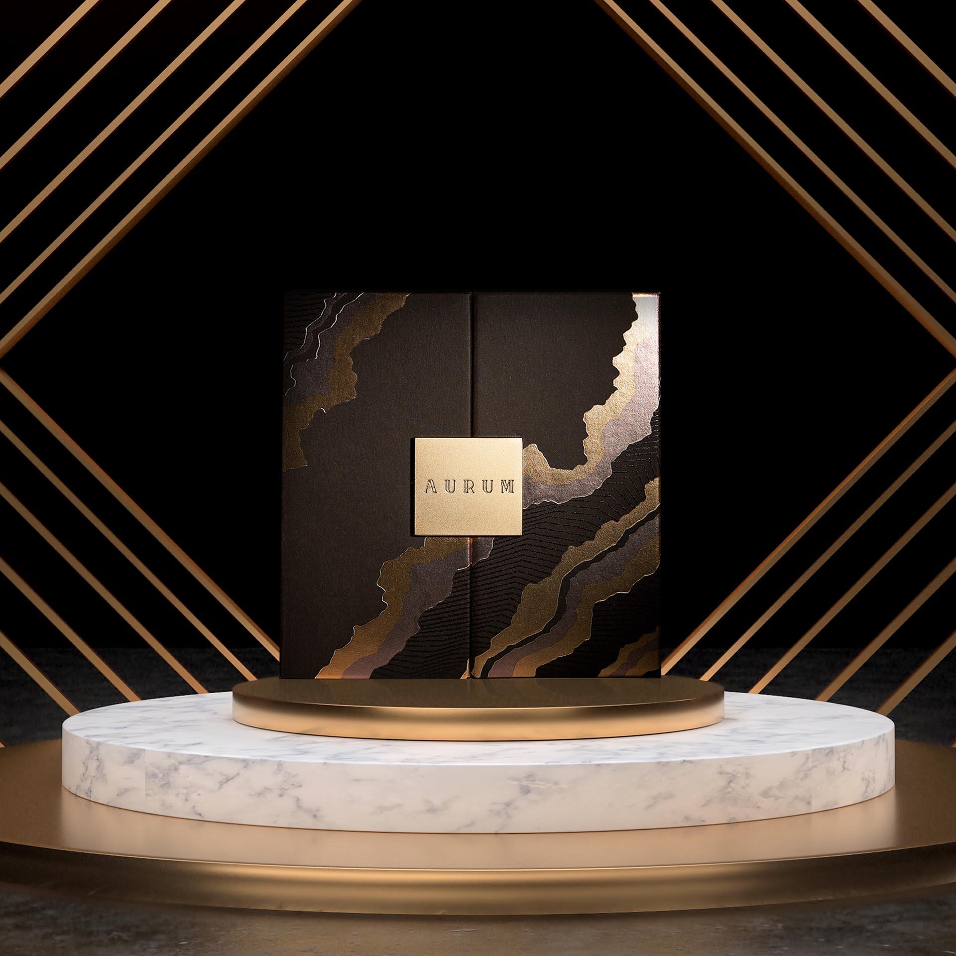 Aurum Gold Leaves Packaging by LLAB Design Ltd