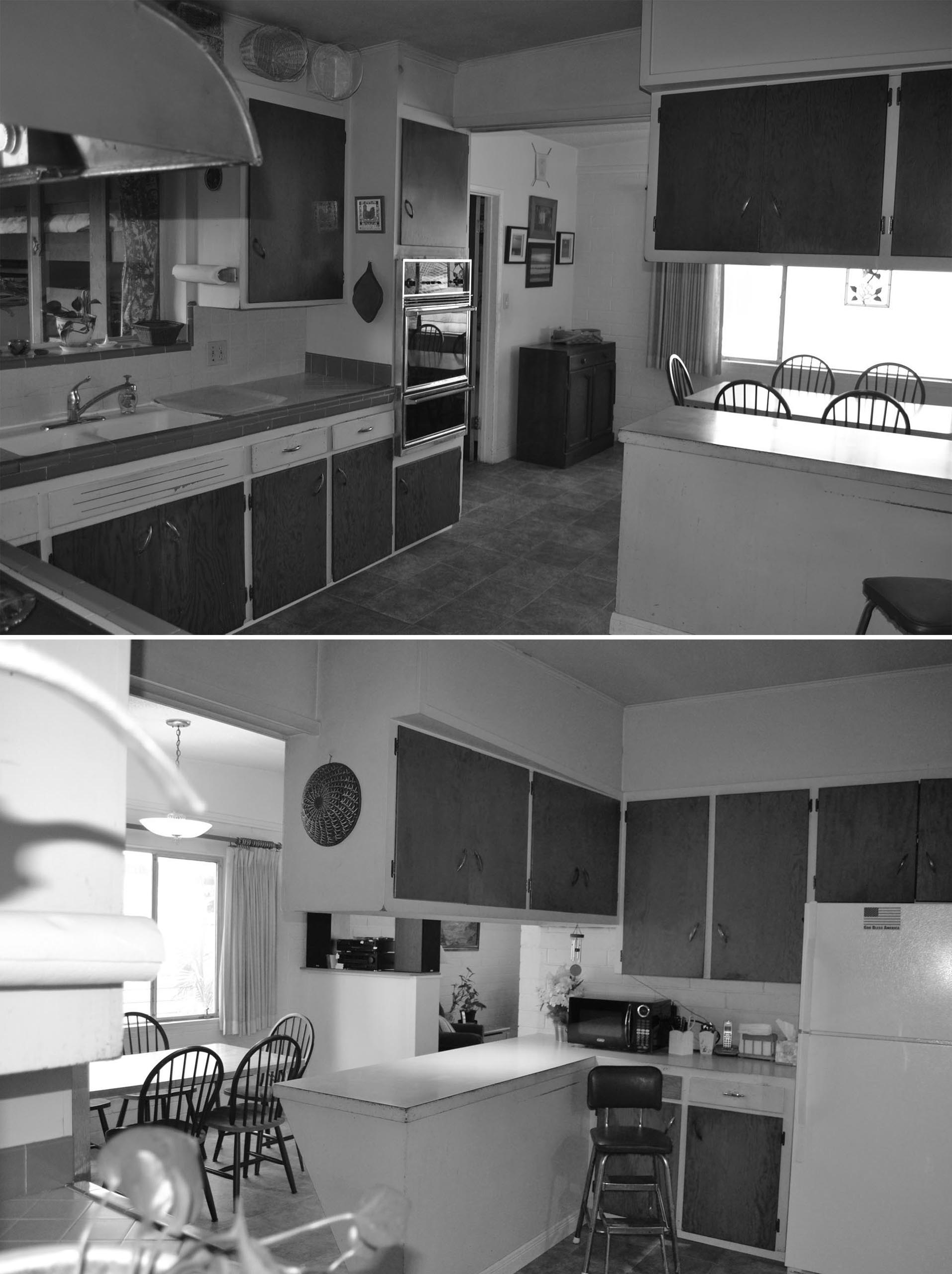 BEFORE PHOTO - The original kitchen had wood front cabinets, a tile countertop, and dated appliances.