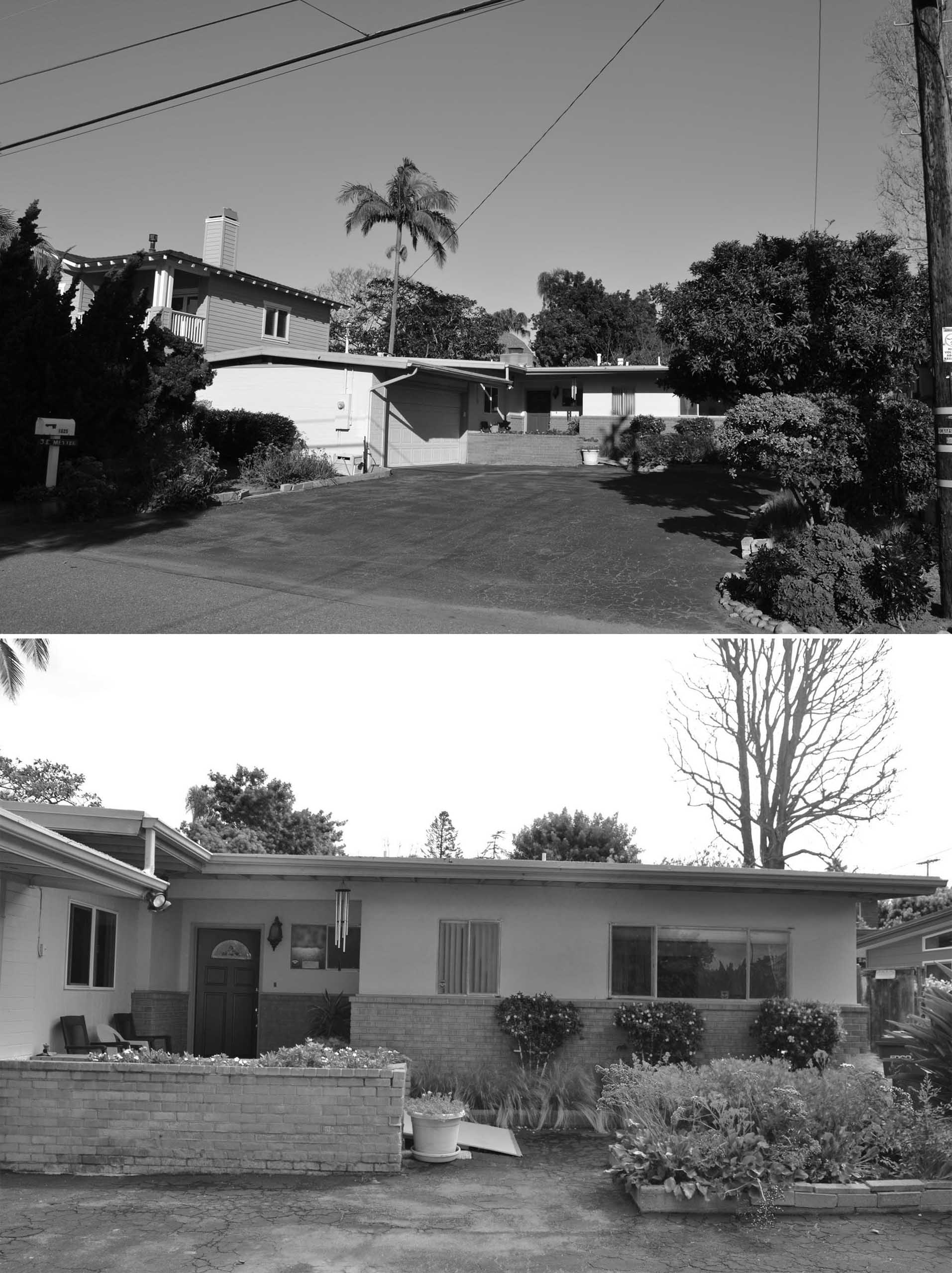 BEFORE PHOTOS - The original 1957 front yard was had a large asphalt driveway with a garage to the side, while the front door was located behind a low brick wall.