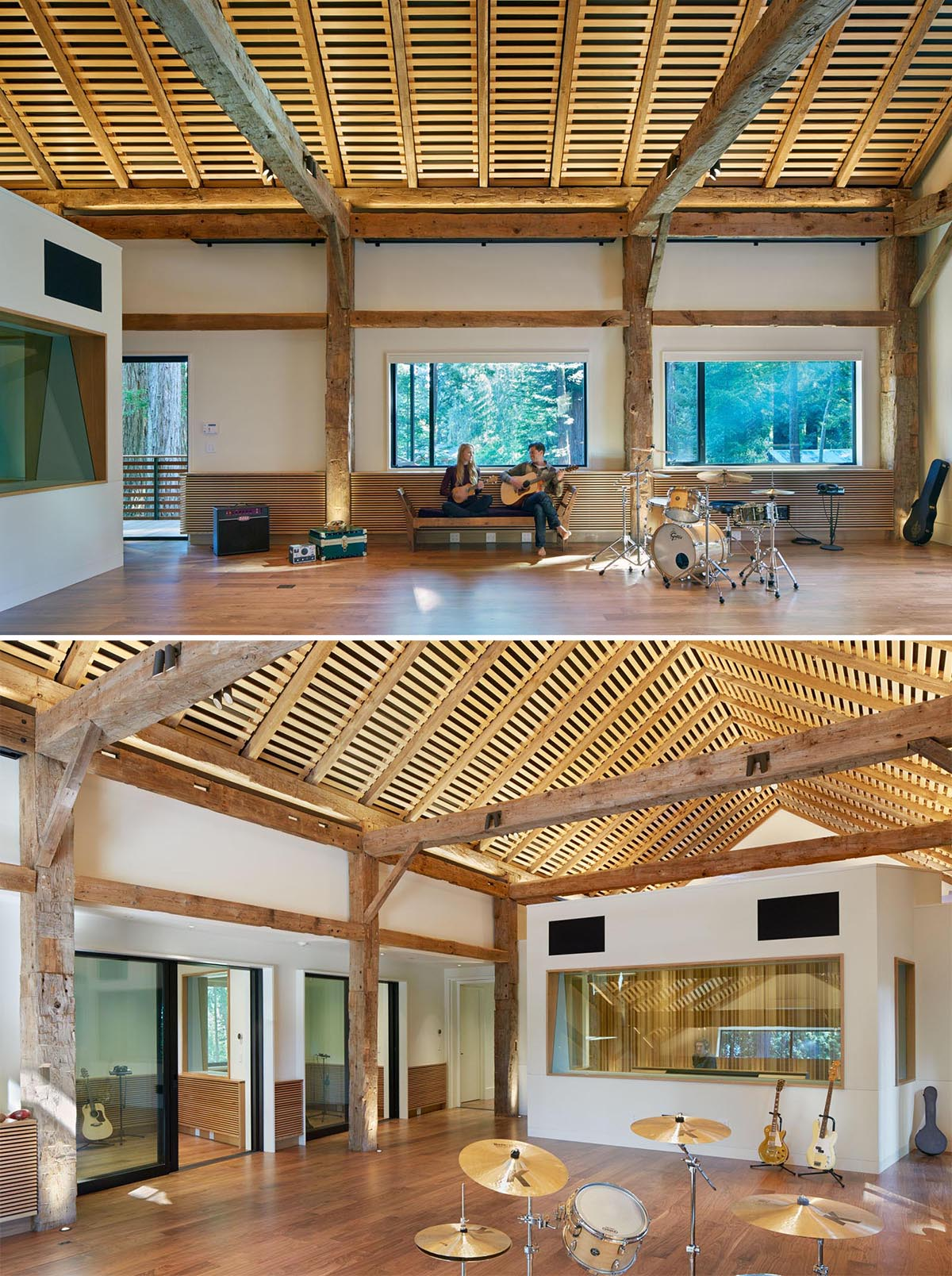 The interior of this modern recording studio includes a large open space with room for multiple instruments, as well as private recording rooms and a sound booth.