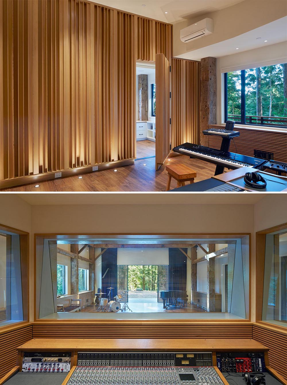 A modern recording studio and sound booth.