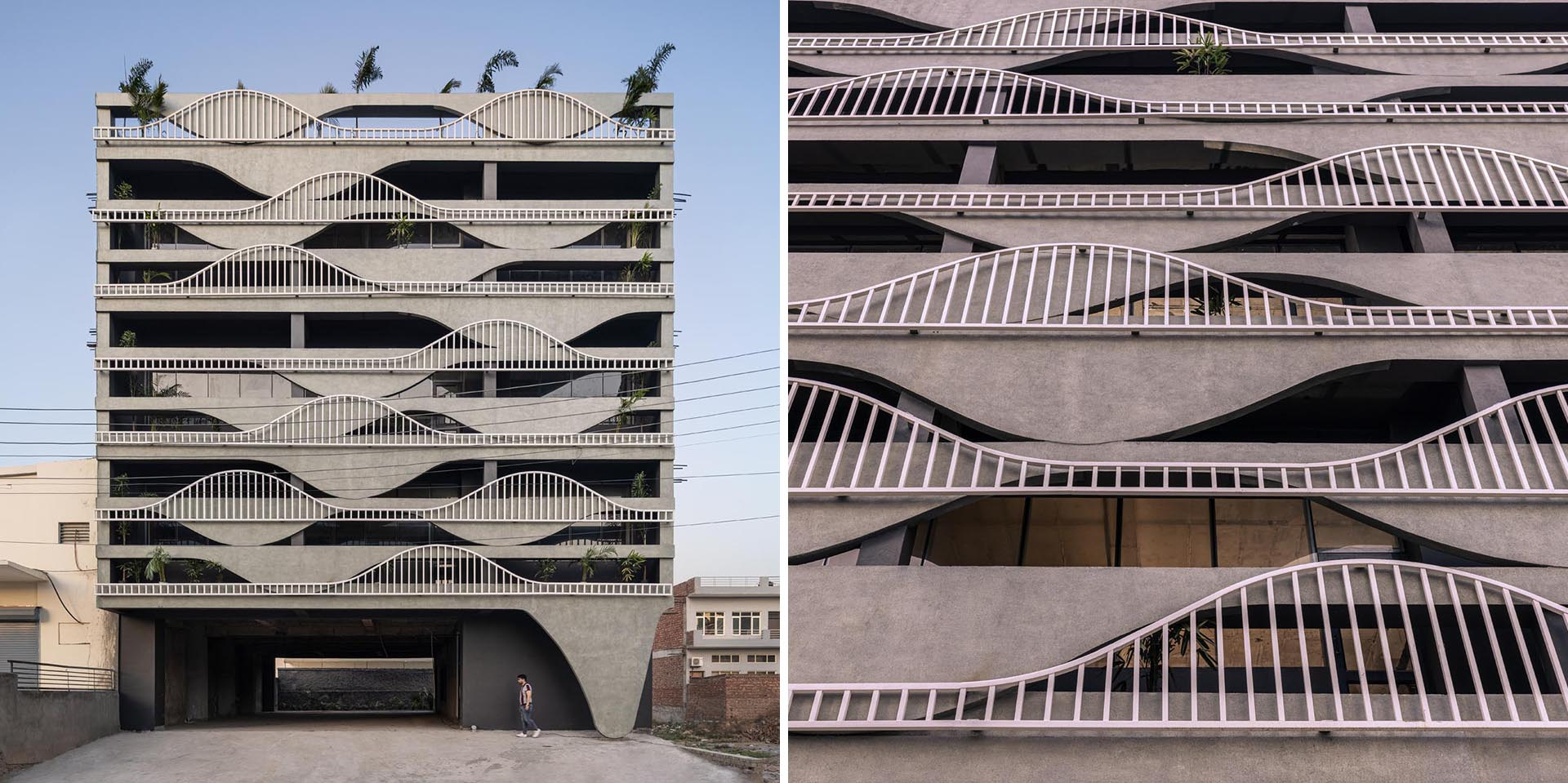 A unique building facade that's designed to look like melting concrete.