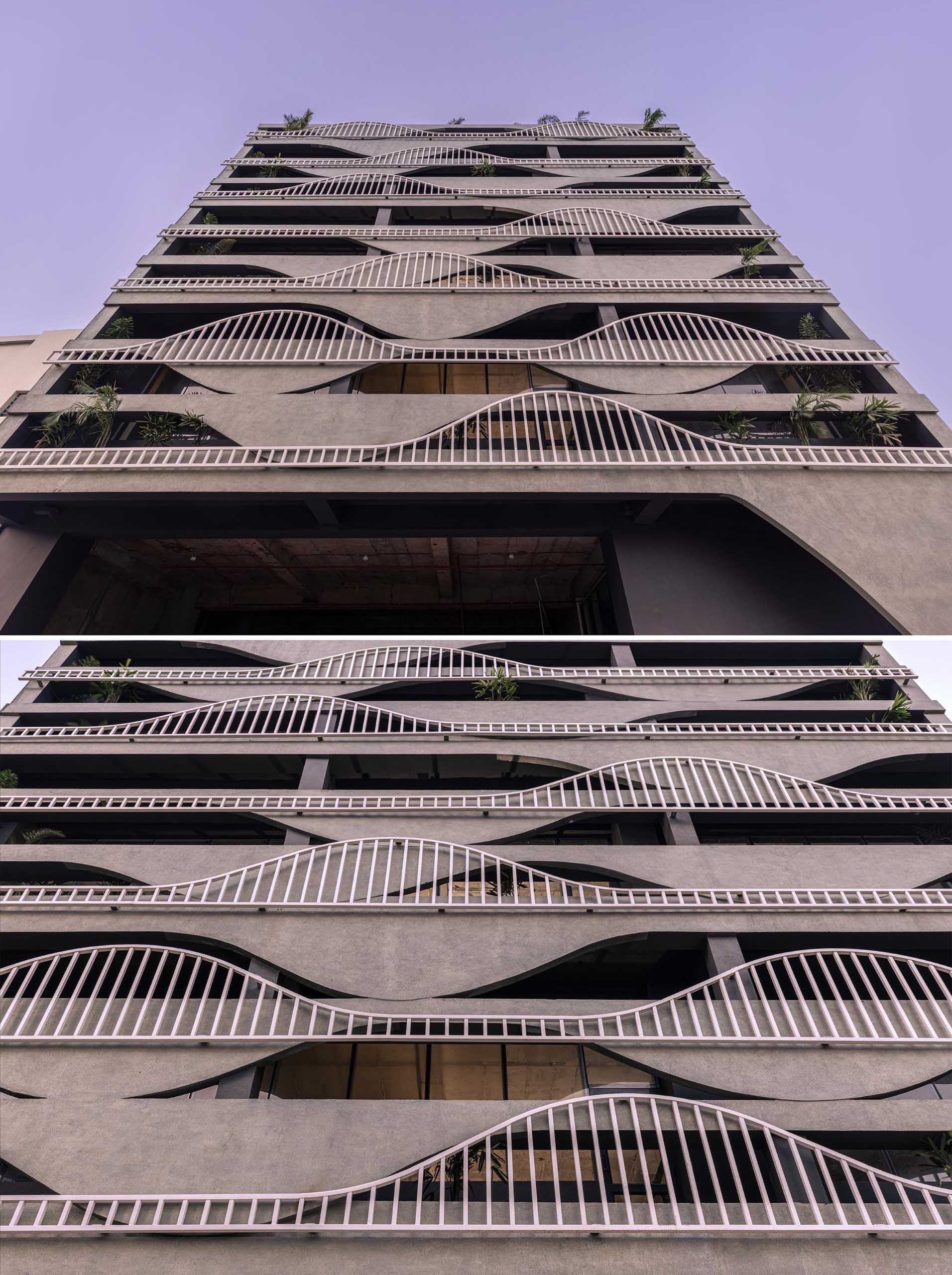 A unique building facade that's designed to look like melting concrete, with complimentary balcony railings.