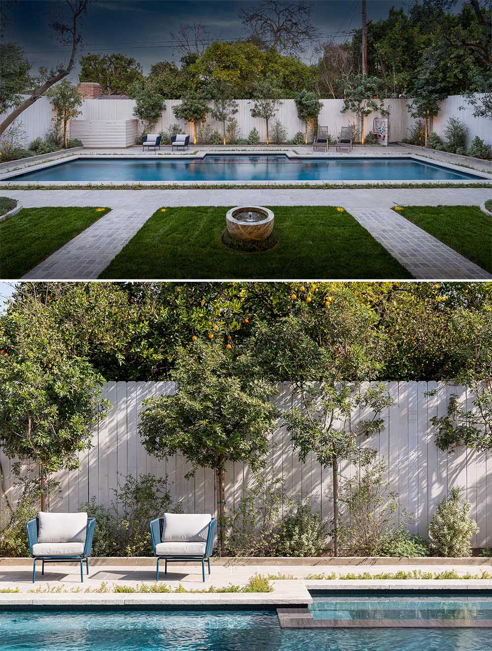 This yard was transformed into a private oasis with a 50-year-old coastal live oak tree, a Balinese water fountain, 60-year-old Manzanilla olive trees, and a resort-style quartz pool.