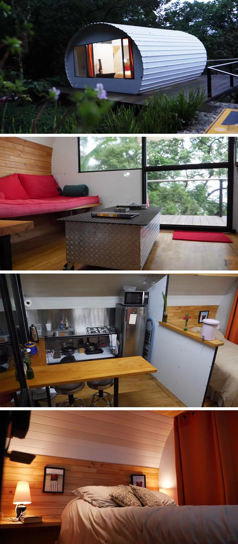 A unique tiny house in Antigua, a city in the central highlands of Guatemala, has a corrugated metal exterior with a white finish, and an open bedroom, a bathroom, kitchen, and a small living area with a couch that doubles as a bed.