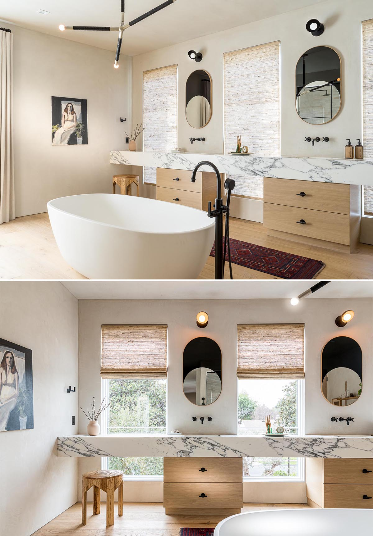 This modern and expansive en-suite bathroom has a white freestanding soaking tub, a glass-enclosed shower for two, and a marble double vanity.