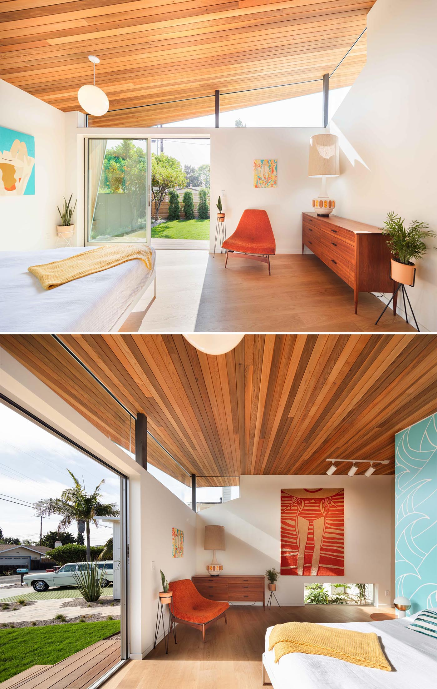 This new mid-century modern inspired master bedroom at the front of the house shows the angled wood ceiling and the wrap around clerestory windows.