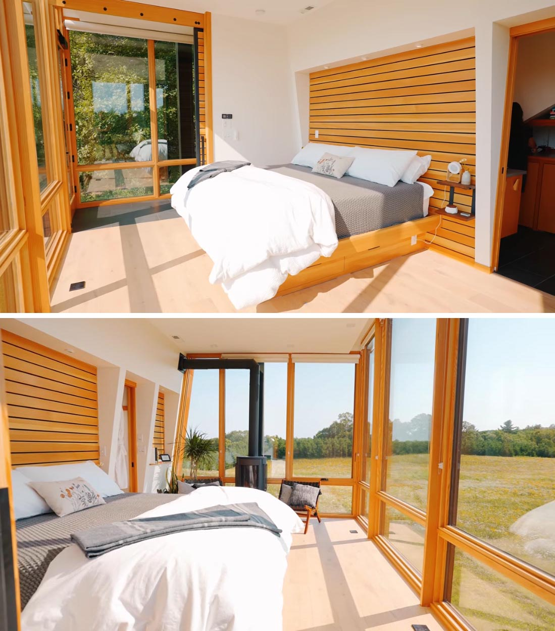 A modern cabin with a bedroom that includes floor-to-ceiling windows and wood accents.