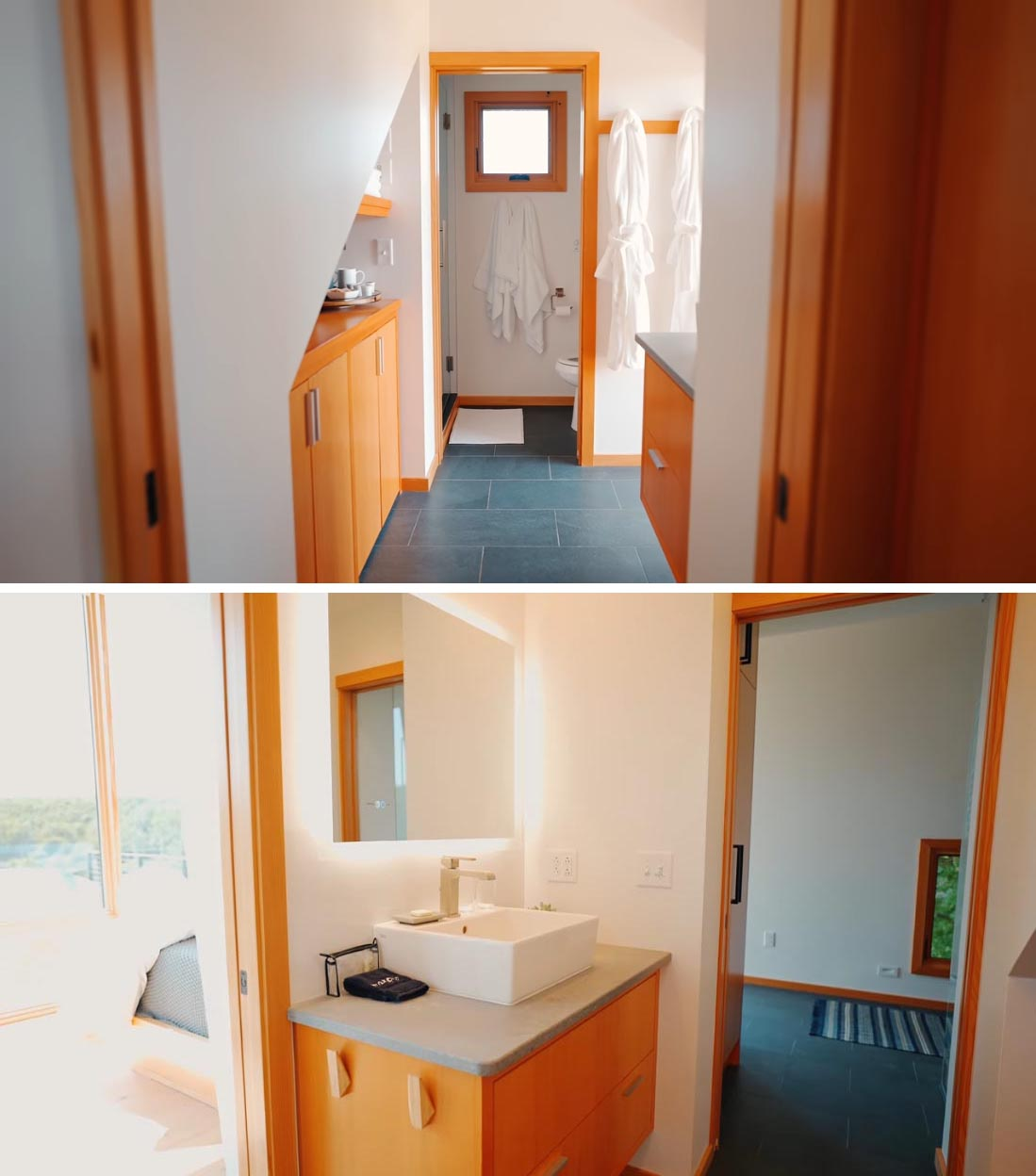 The modern bathroom of a small two-storey cabin.